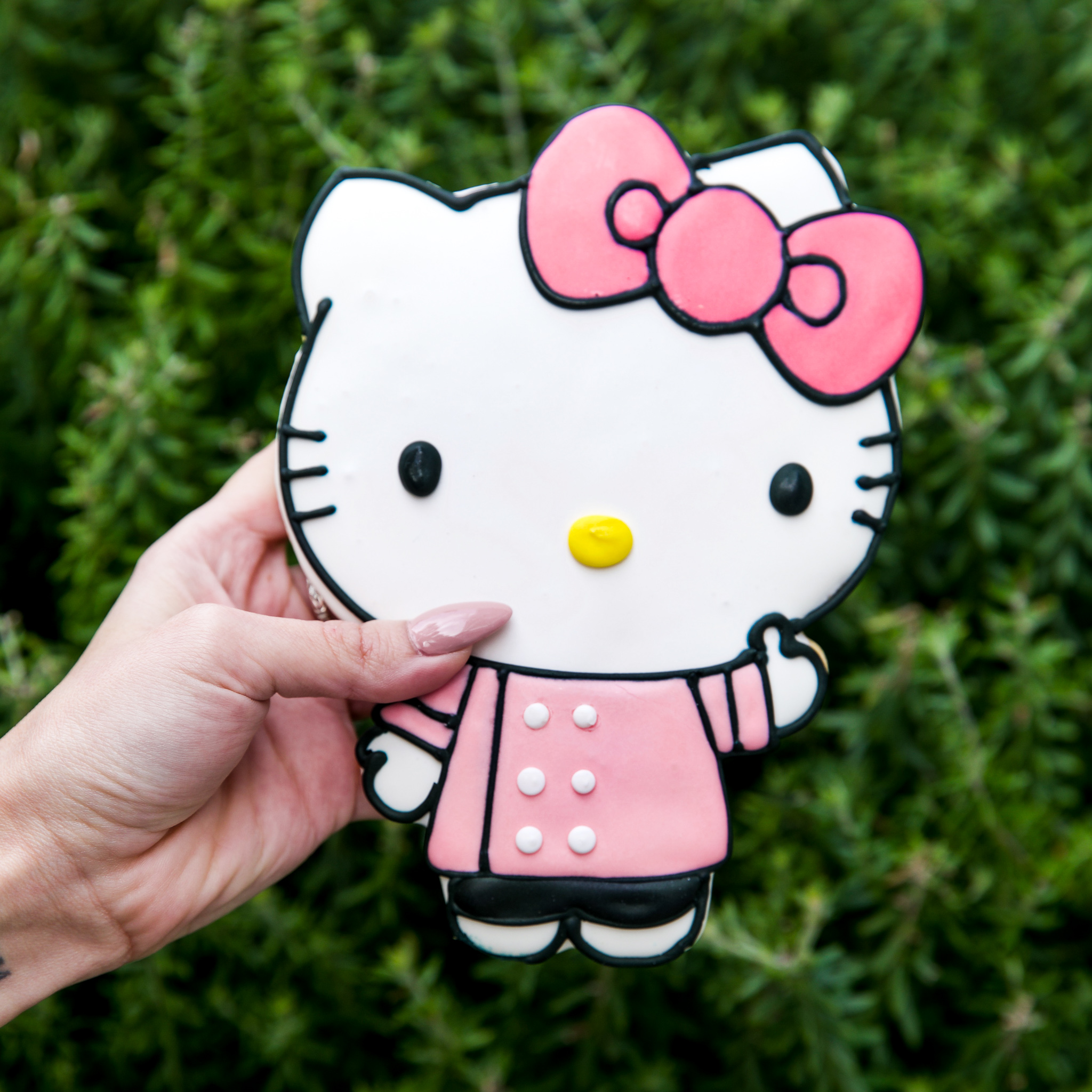 A cookie in the of Hello Kitty held in a hand