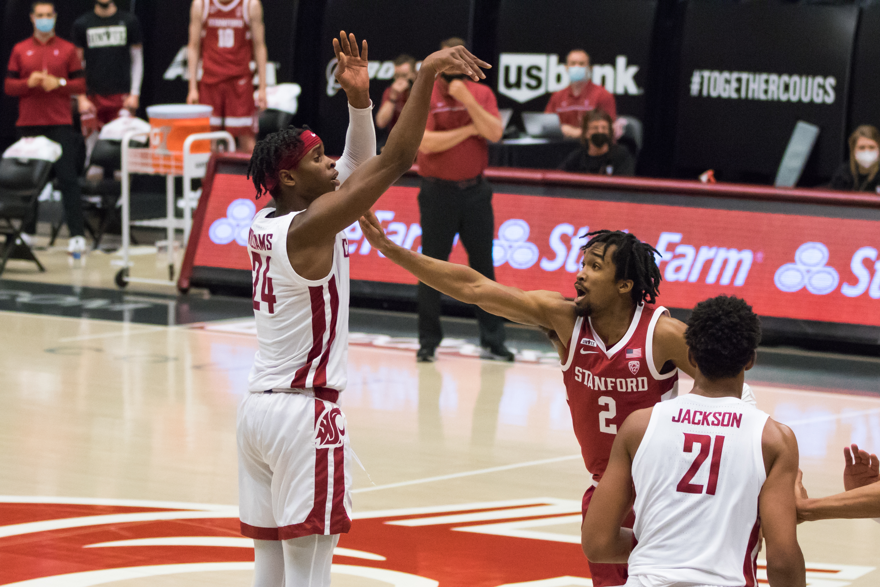 PULLMAN, WA - FEBRUARY 20: Washington State guard Noah Williams (24) takes a shot during the second half of a Pac 12 matchup between the Stanford Cardinal and the Washington State Cougars on February 20, 2021, at Beasley Coliseum in Pullman, WA.