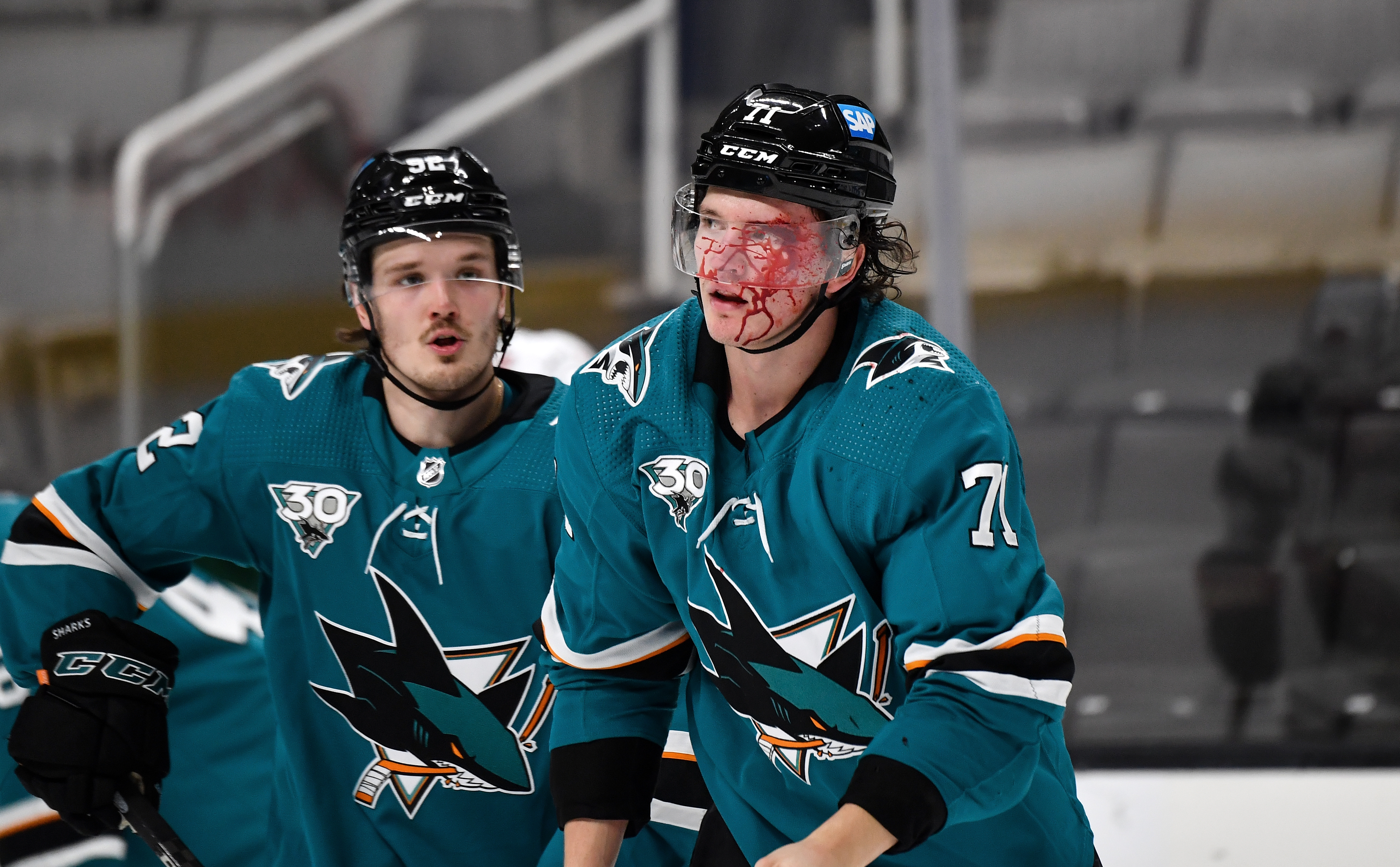 Nicolai Knyzhov #71 of the San Jose Sharks skates off after a fight against the Minnesota Wild at SAP Center on February 22, 2021 in San Jose, California.