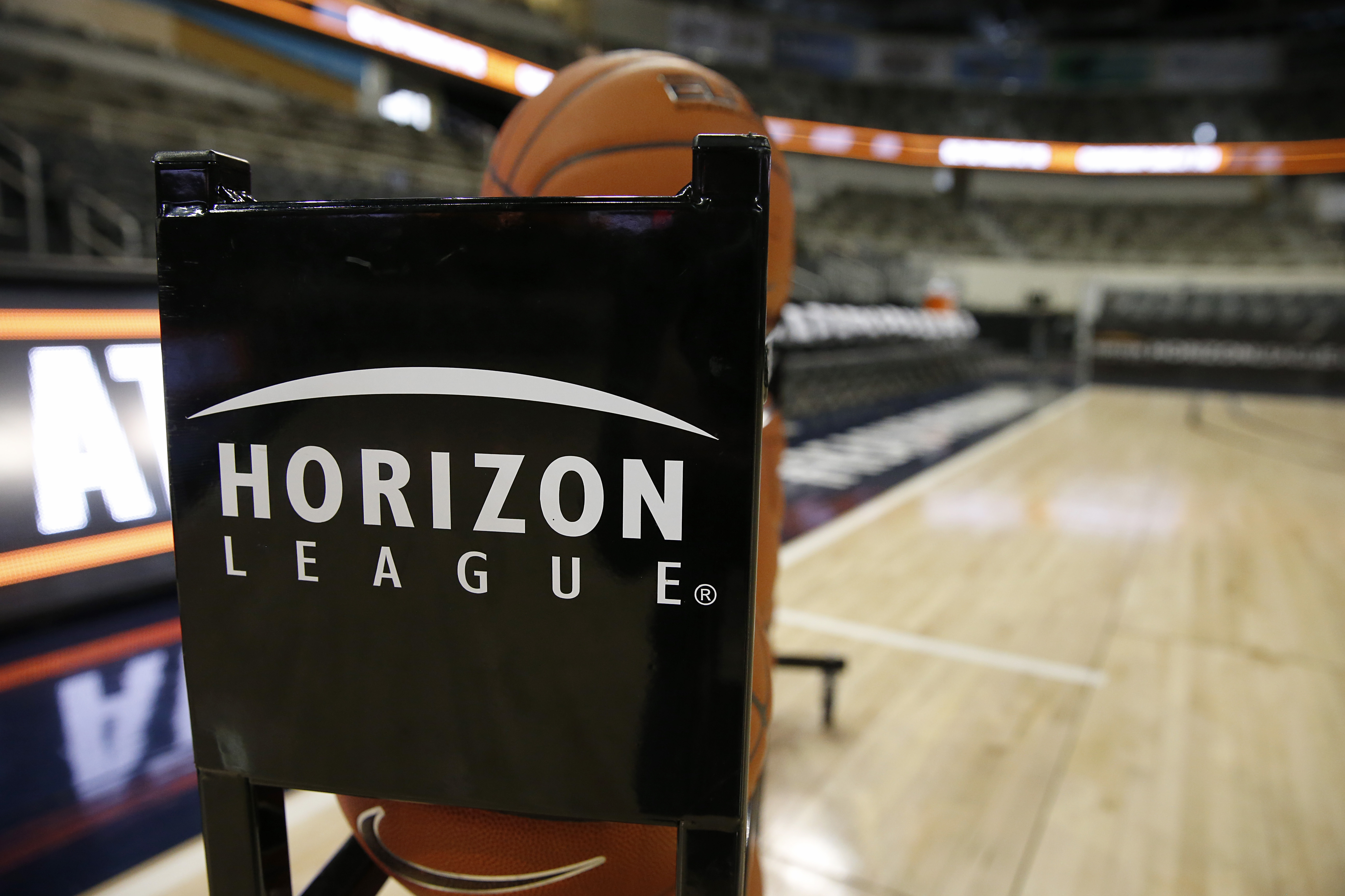 The Horizon League logo on the basketball rack at the Horizon League Basketball Championships at Indiana Farmers Coliseum on March 10, 2020 in Indianapolis, Indiana.