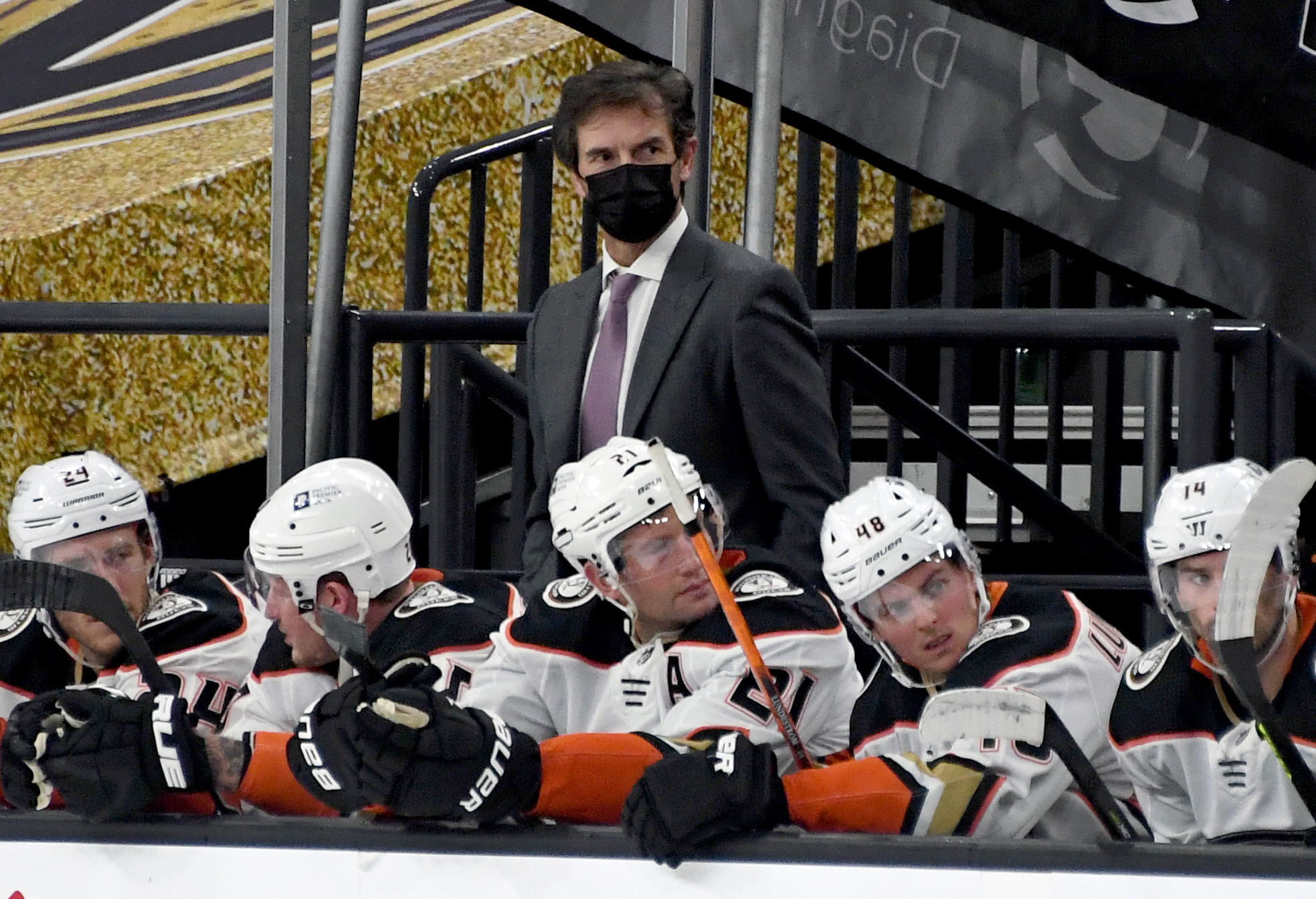 Head coach Dallas Eakins of the Anaheim Ducks handles bench duties in the third period of a game against the Vegas Golden Knights at T-Mobile Arena on February 9, 2021 in Las Vegas, Nevada. The Golden Knights defeated the Ducks 5-4.