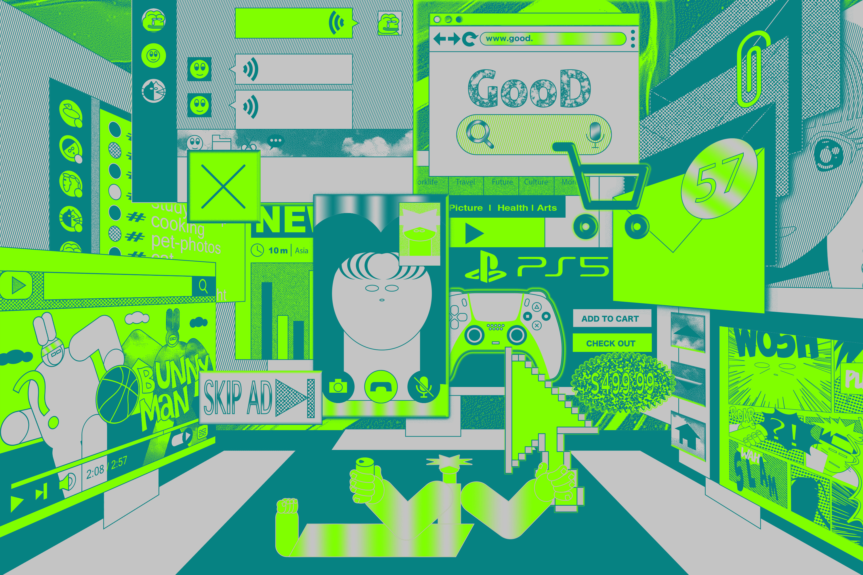 Abstract illustration inspired by digital screens in lime green, sage and grey colors