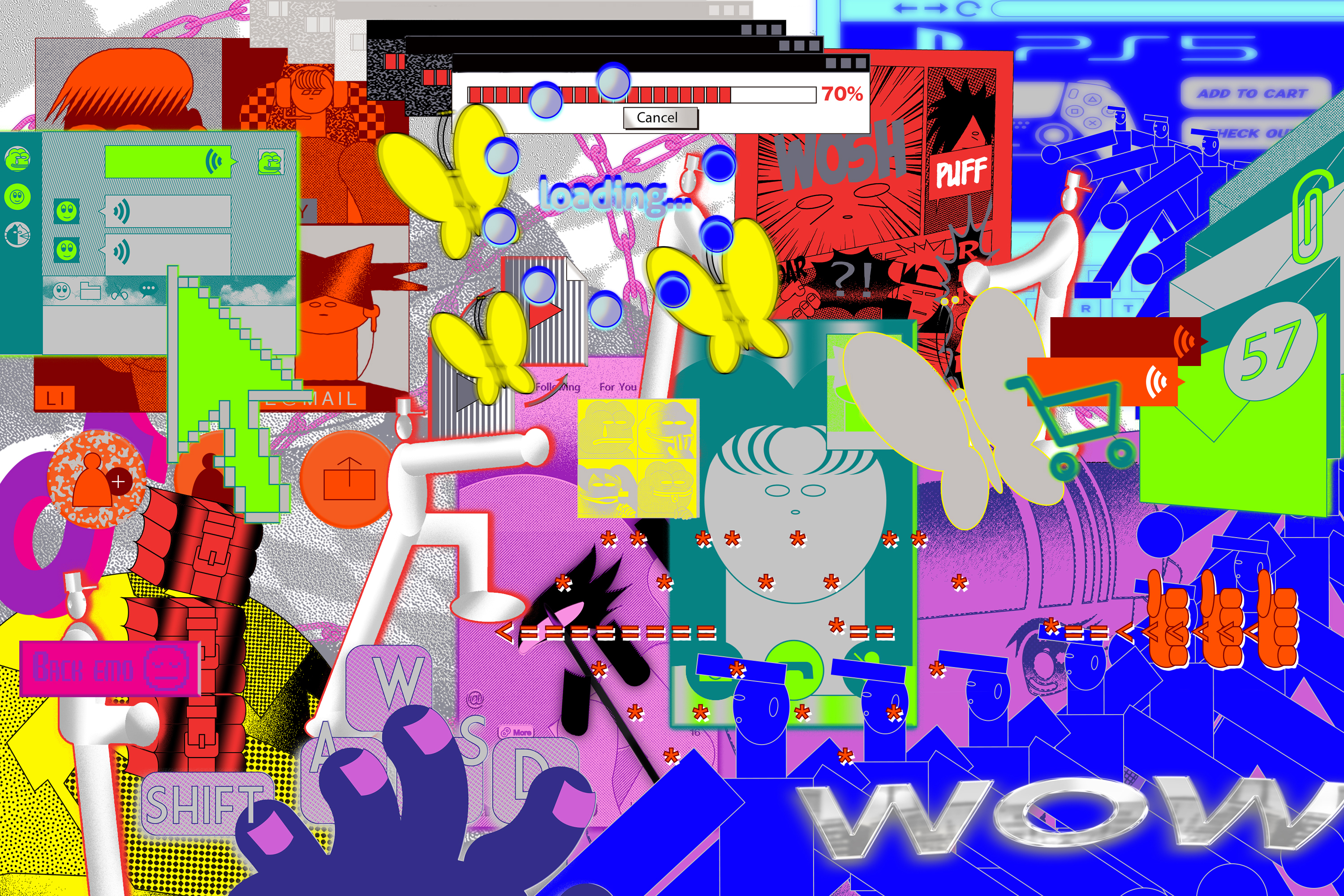 Illustration featuring different elements from the internet in bright, fluorescent colors