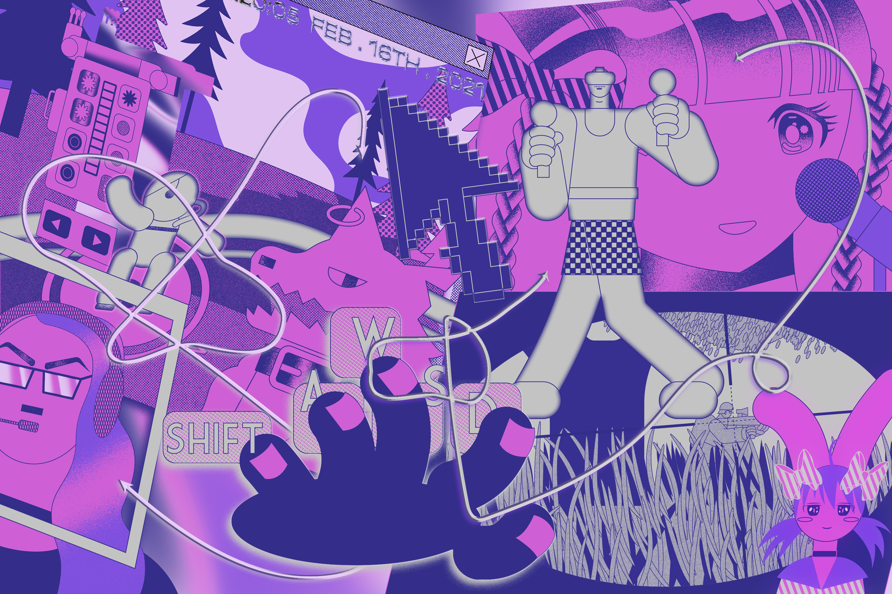 Abstract illustration featuring different tuber characters in pinks and purples