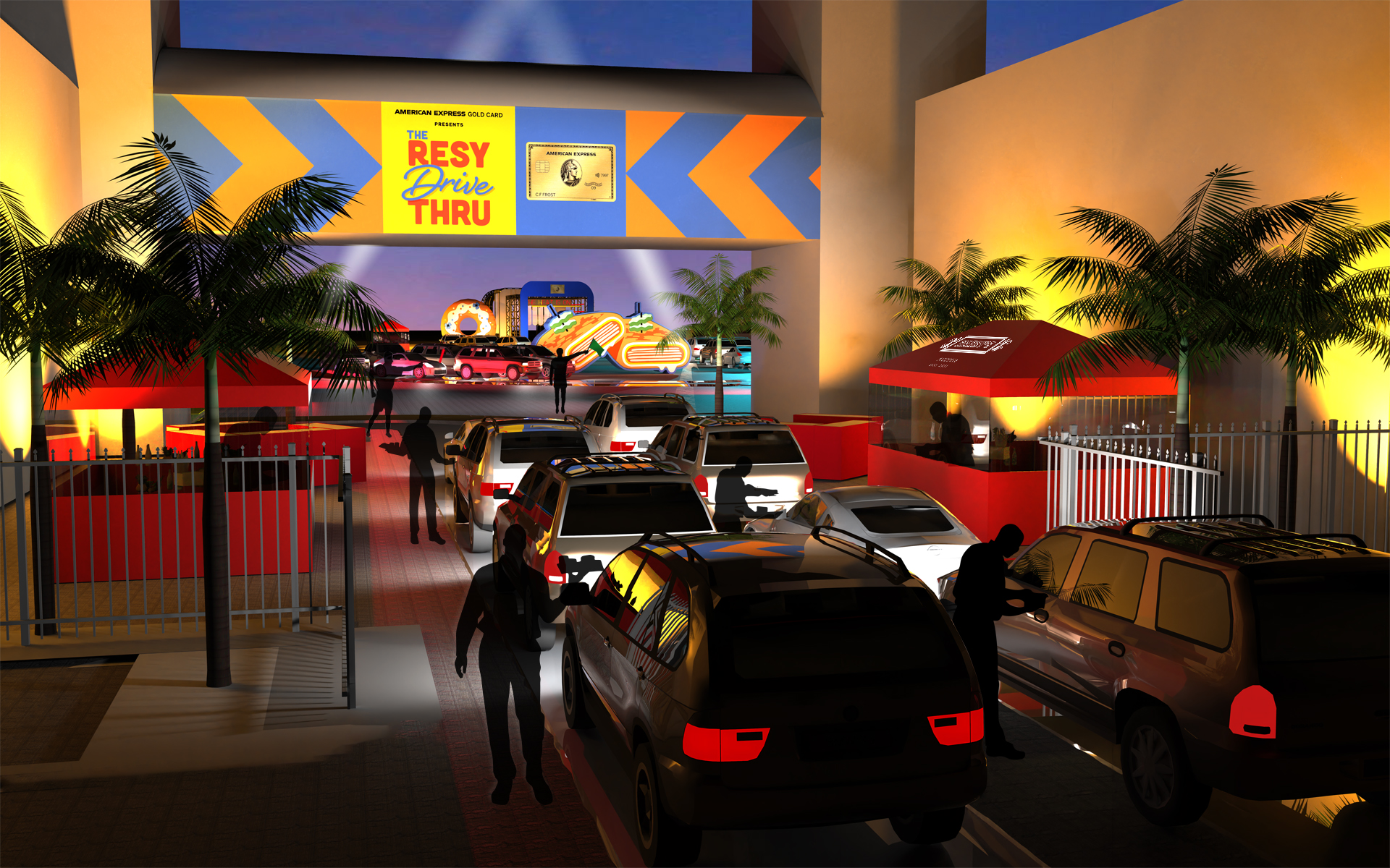 Cars driving into a colorful area