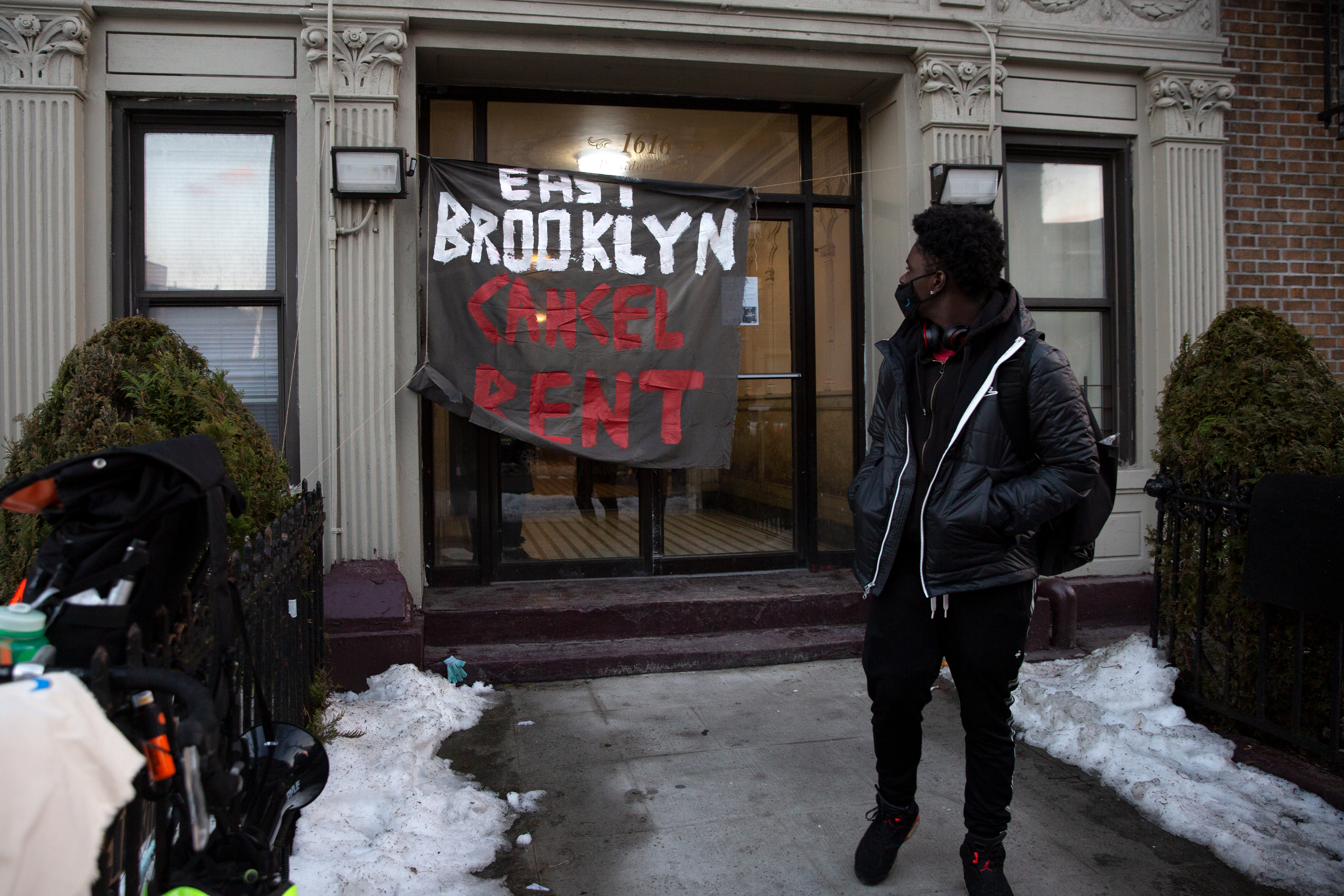 Crown Heights residents protest against their landlords attempts to evict a tenant, Feb. 17, 2021.