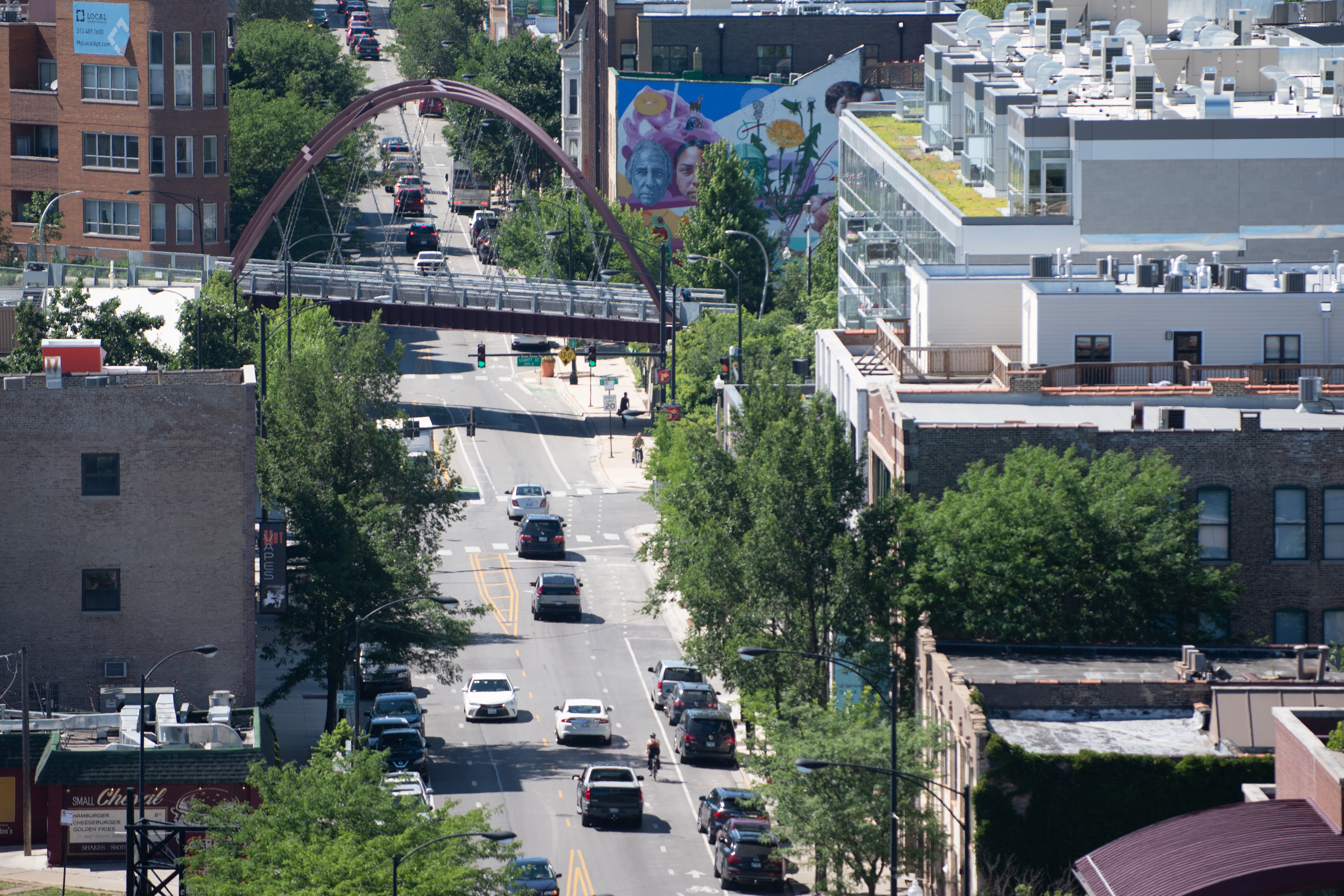 A view of the 606 Trail, seen from the rooftop of the Robey Hotel in Wicker Park.