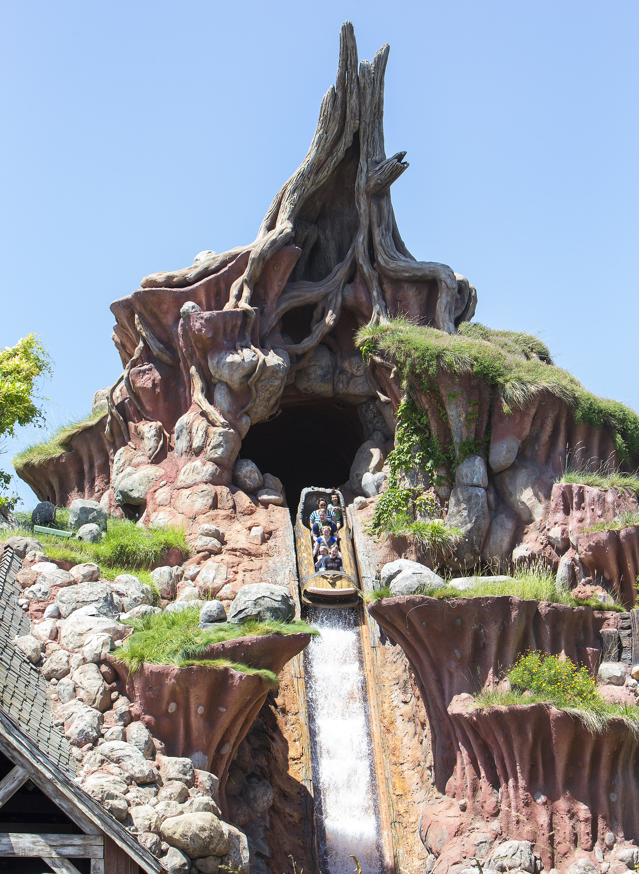 """Guests take a plunge down a 5-story waterfall on Splash Mountain in Critter Country at Disneyland park in Anaheim, Calif. The rollicking log flume ride is based on the animated characters and sequences from the classic Disney film, """"Song of the South.""""(Paul Hiffmeyer/Disneyland Resort)"""