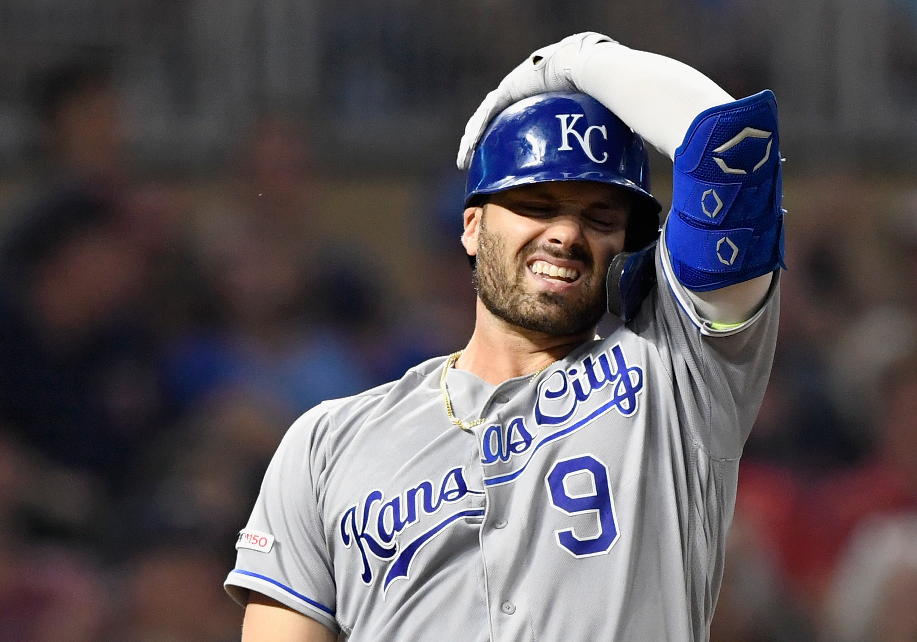 Ryan McBroom #9 of the Kansas City Royals reacts to striking out against the Minnesota Twins during the sixth inning of the game at Target Field on September 20, 2019 in Minneapolis, Minnesota. The Twins defeated the Royals 4-3.