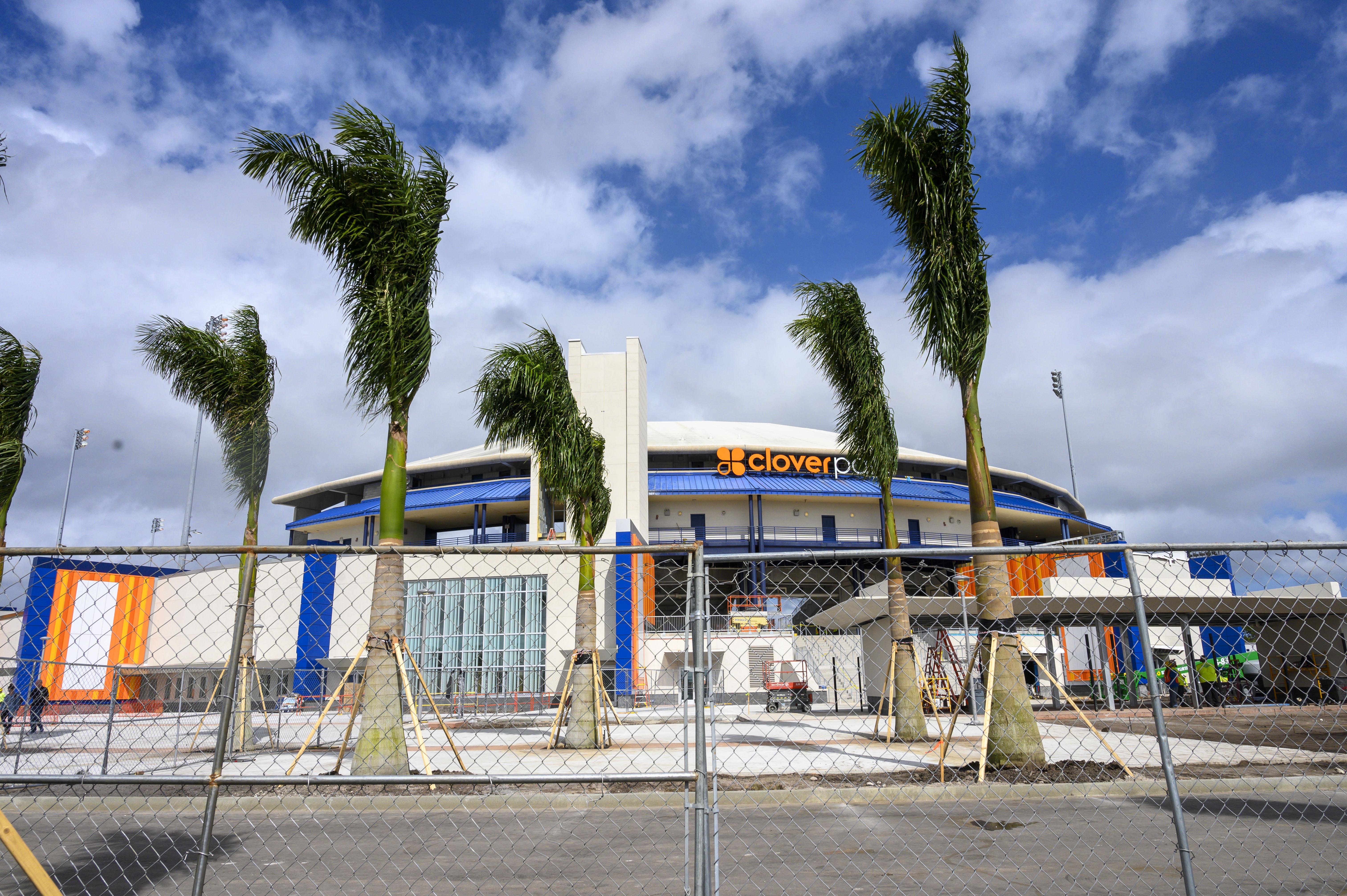 Construction scene at Clover Park stadium in Florida, 2020