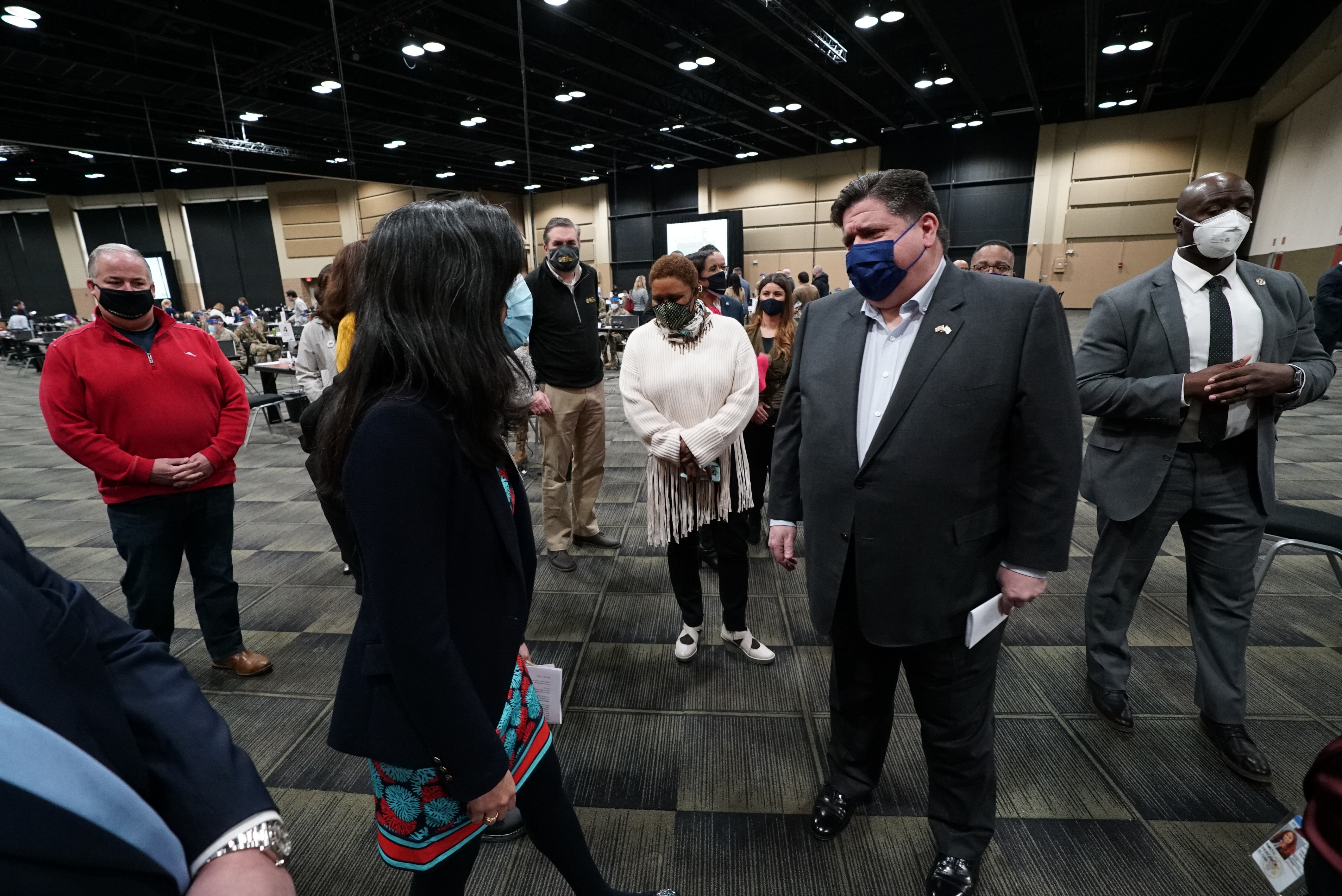 Gov. J.B. Pritzker at the county's first large-scale community vaccination site in the Tinley Park Convention Center.