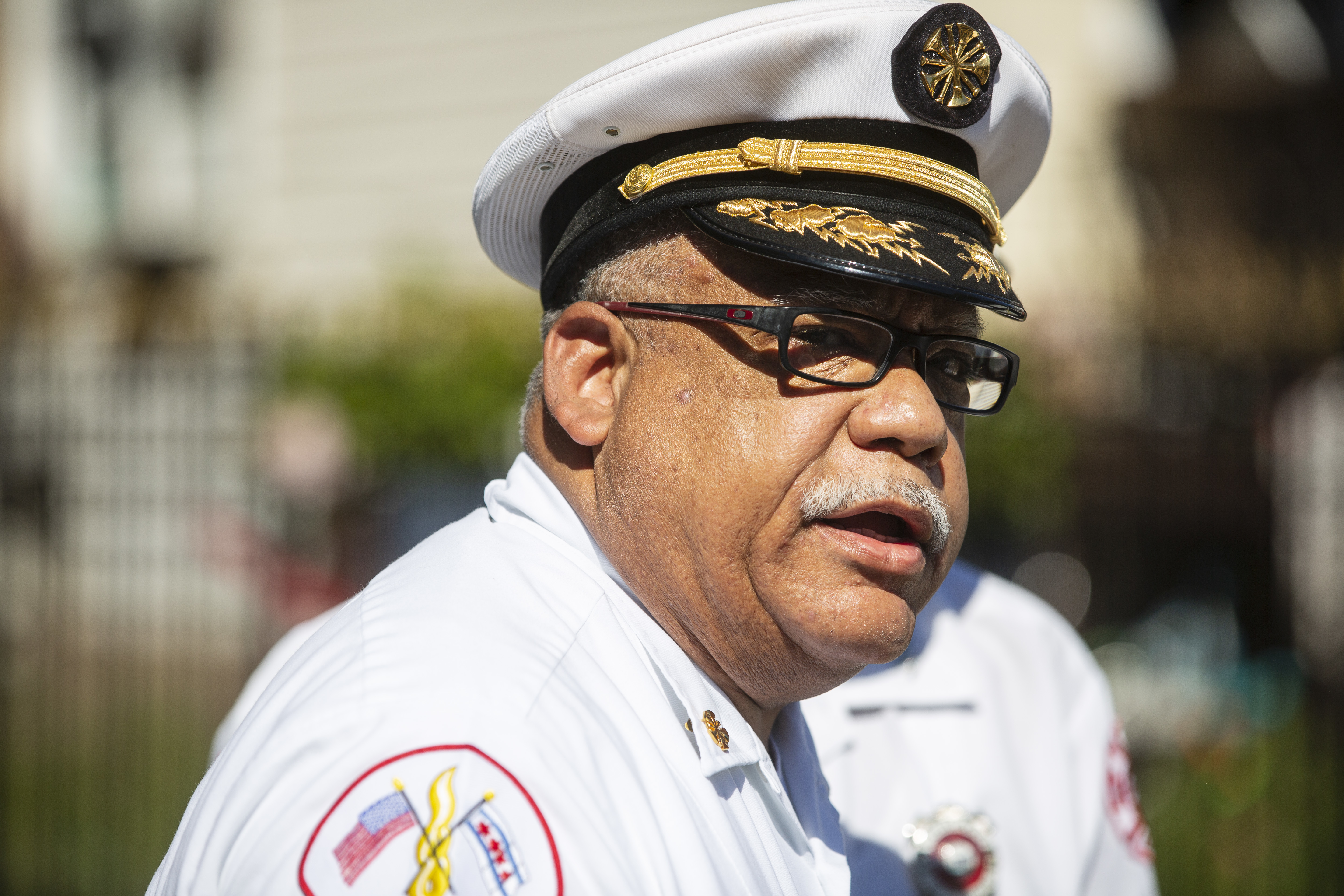 CFD Commissioner Richard C. Ford II, shown talking to reporters in August near the scene of a fatal fire in Gage Park.