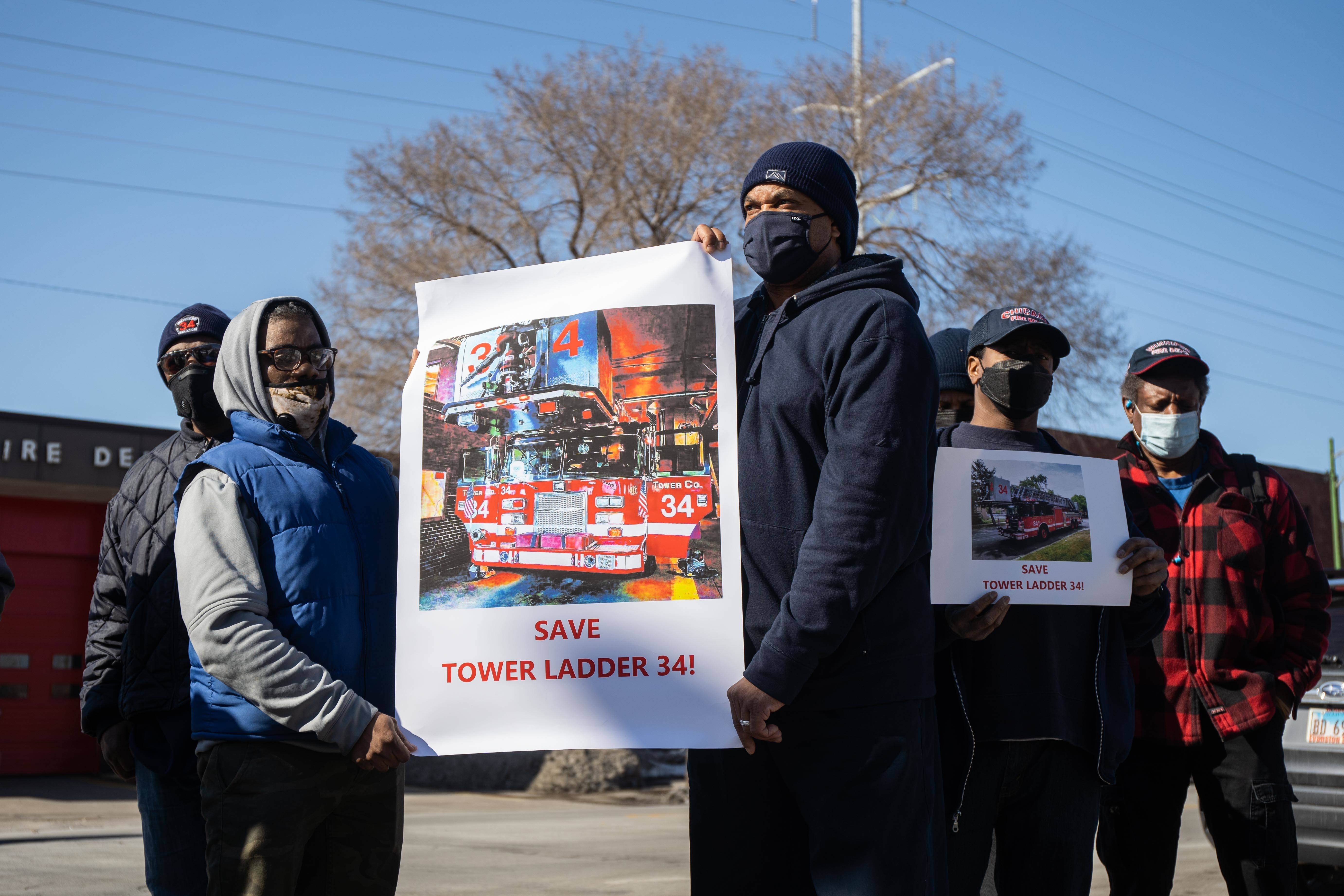 Current and former Chicago firefighters, as well as other community residents, on Thursday protest the planned removal of Tower Ladder 34 from the firehouse at 7982 S. Chicago Ave.