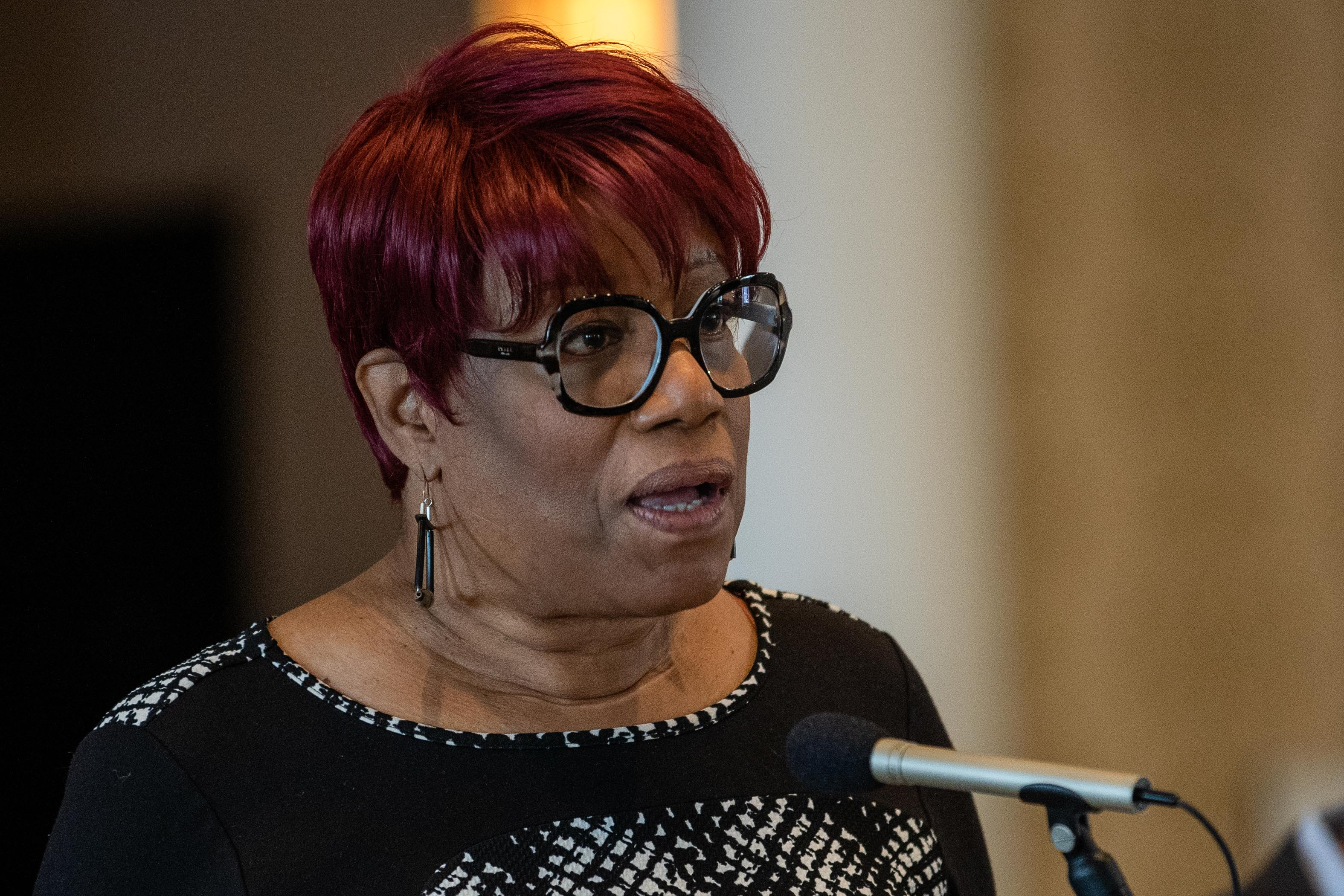 Ald. Pat Dowell (3rd) speaks during a press conference at the Parkway Ballroom in the Bronzeville neighborhood, Thursday morning, Feb. 18, 2021, where elected officials called for the replacement of local Postal Service leadership over mail delays and other service issues.