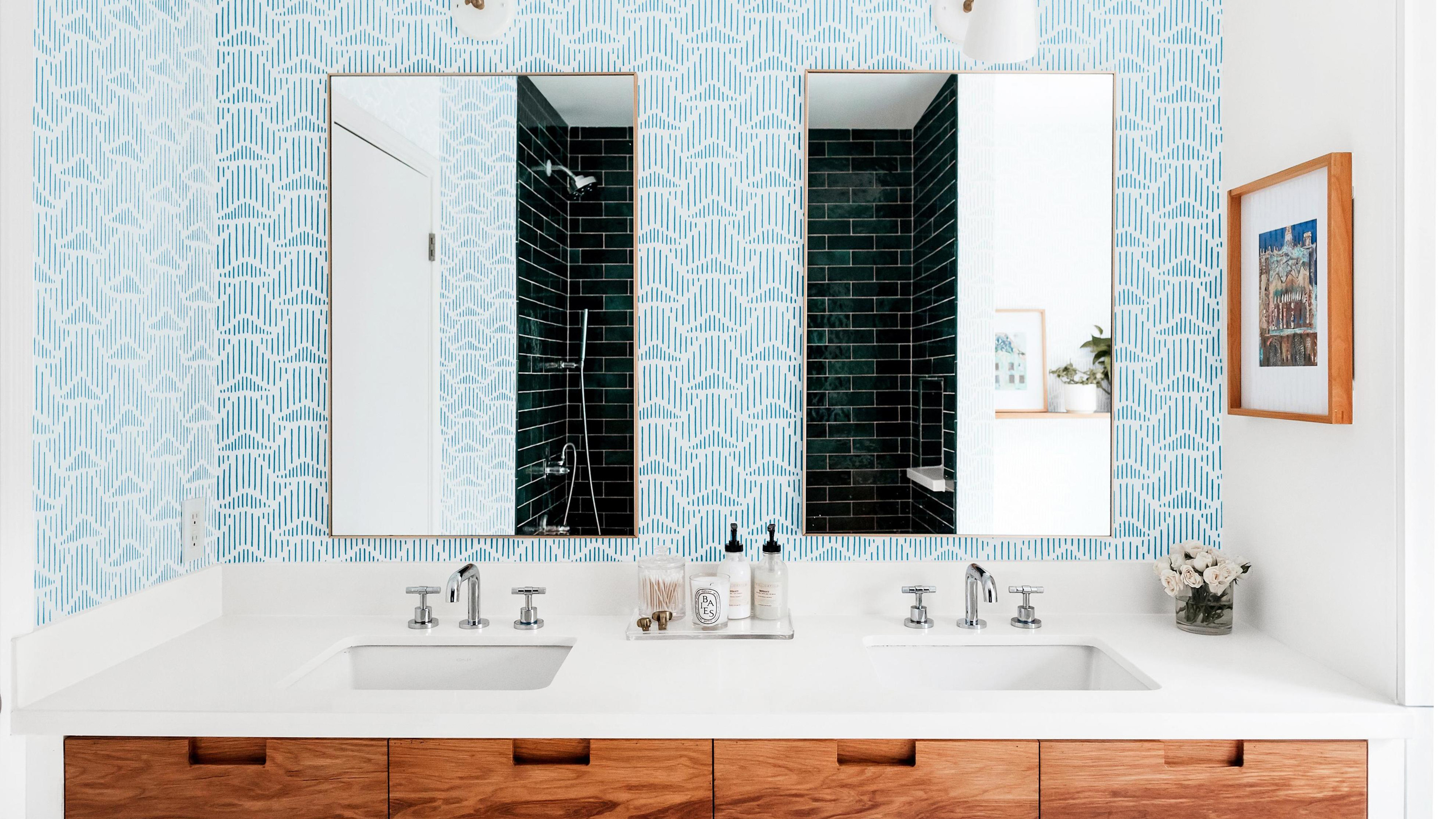 Spring 2021, Before & After Bath: Same Space, Fresh Look, view of mirrors/vanity