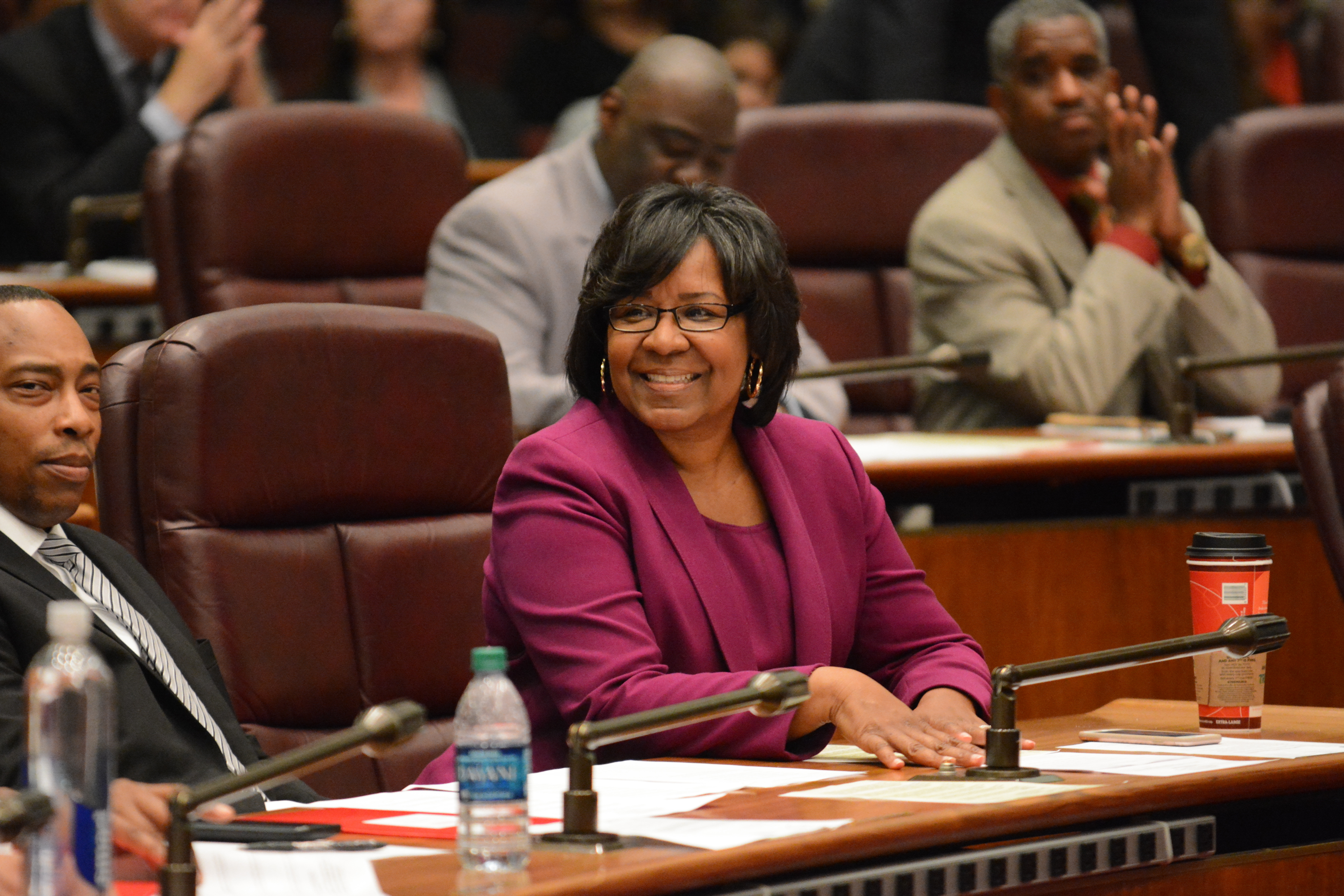 Ald. Michelle Harris during a Chicago City Council meeting in 2016.