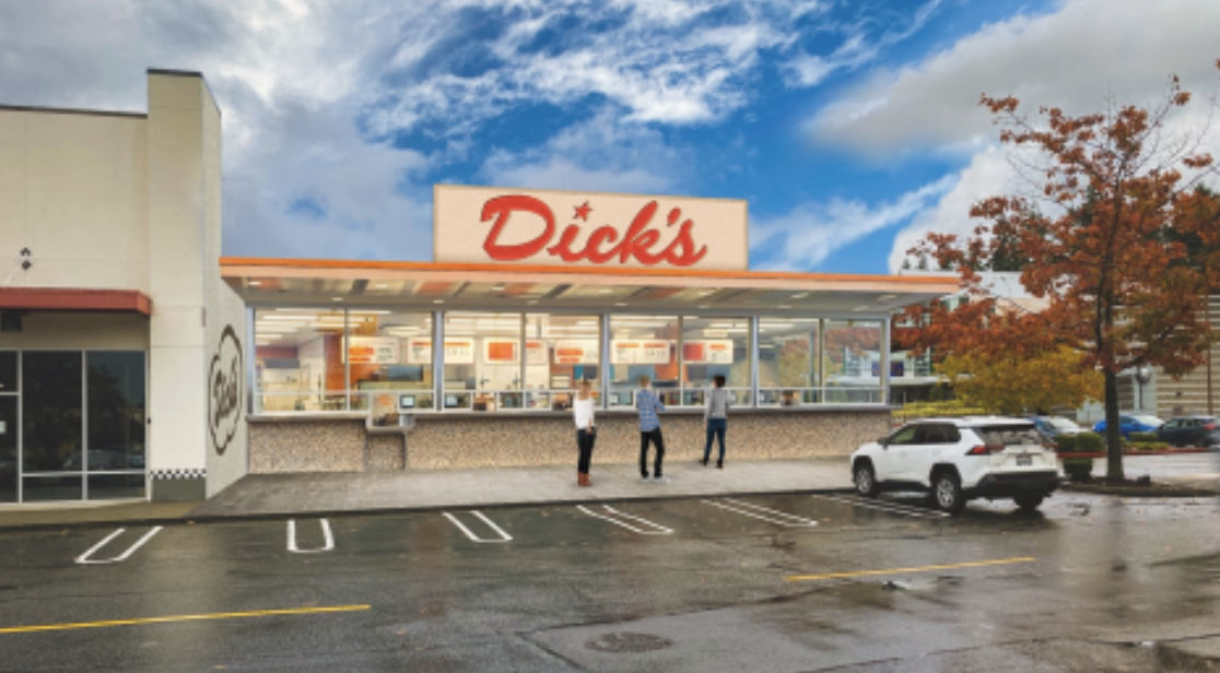 A computer/photo rendering of the upcoming Dick's location at the Crossroads Shopping Center in Bellevue, WA