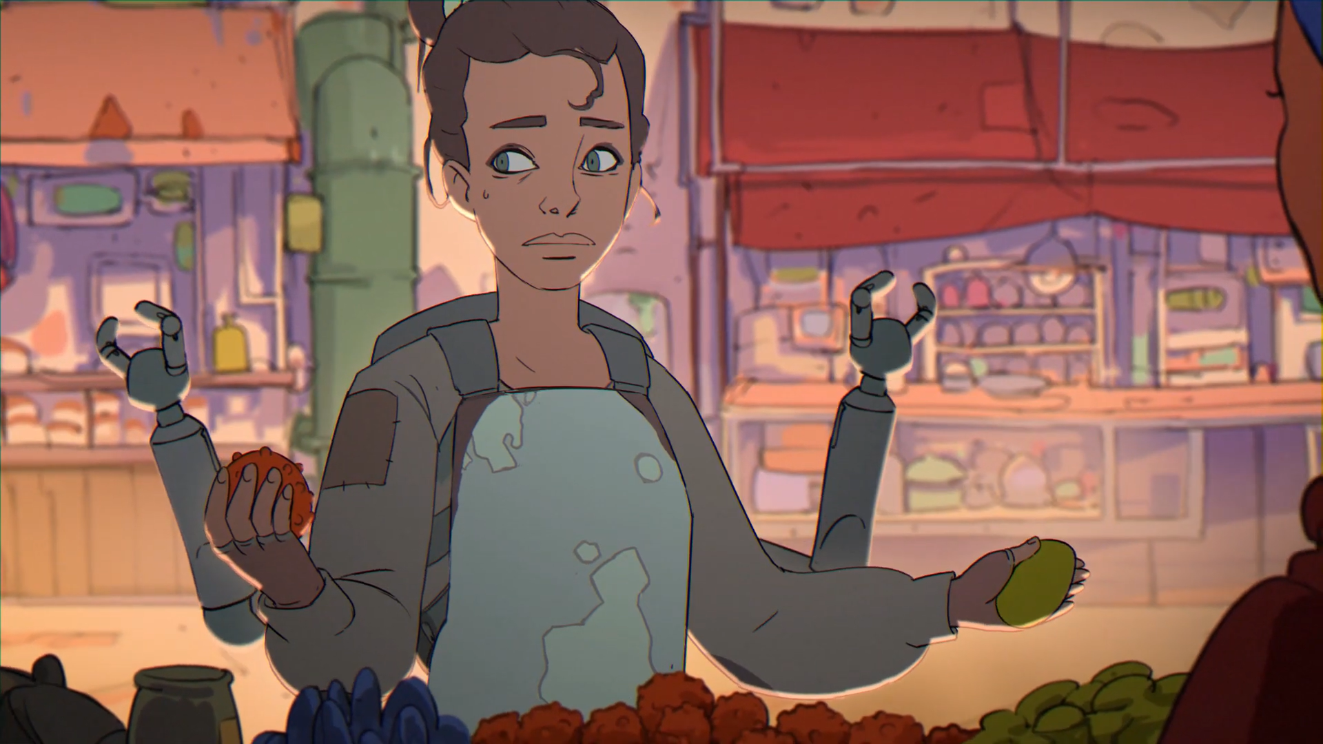 a person with two extra robot arms looking concerned and holding fruits