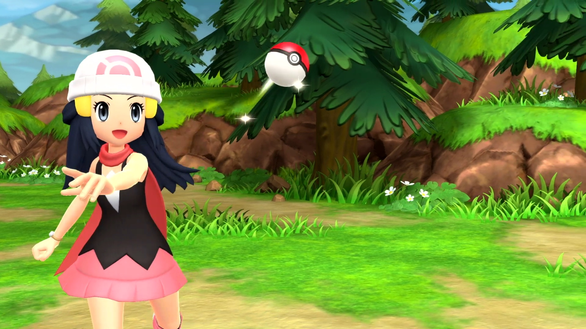 A trainer throws a Pokeball in a screenshot from Pokémon Brilliant Diamond and Pokémon Shining Pearl