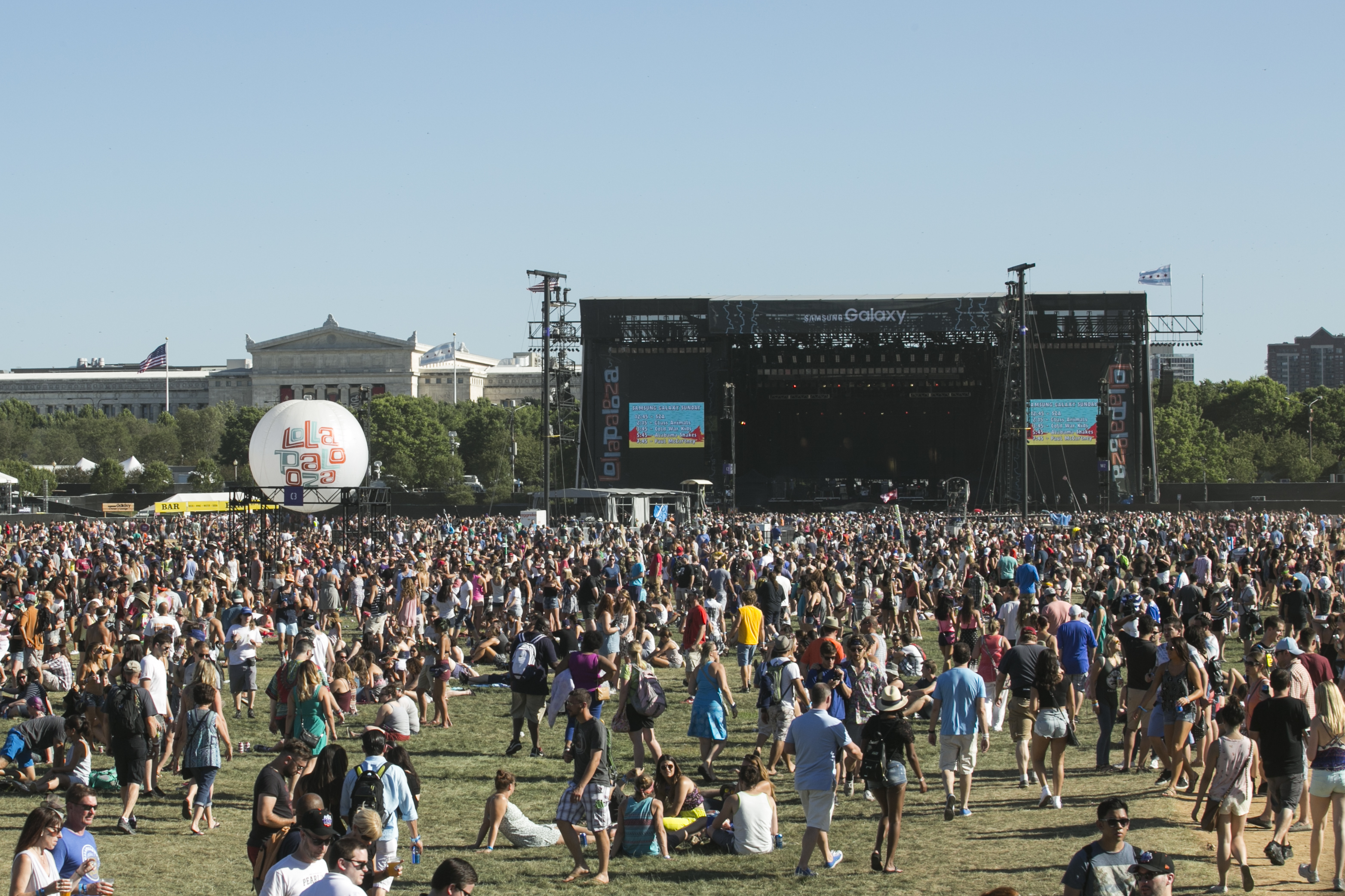 Festival-goers crowd into Grant Park on day one of Lollapalooza on July 31, 2015.
