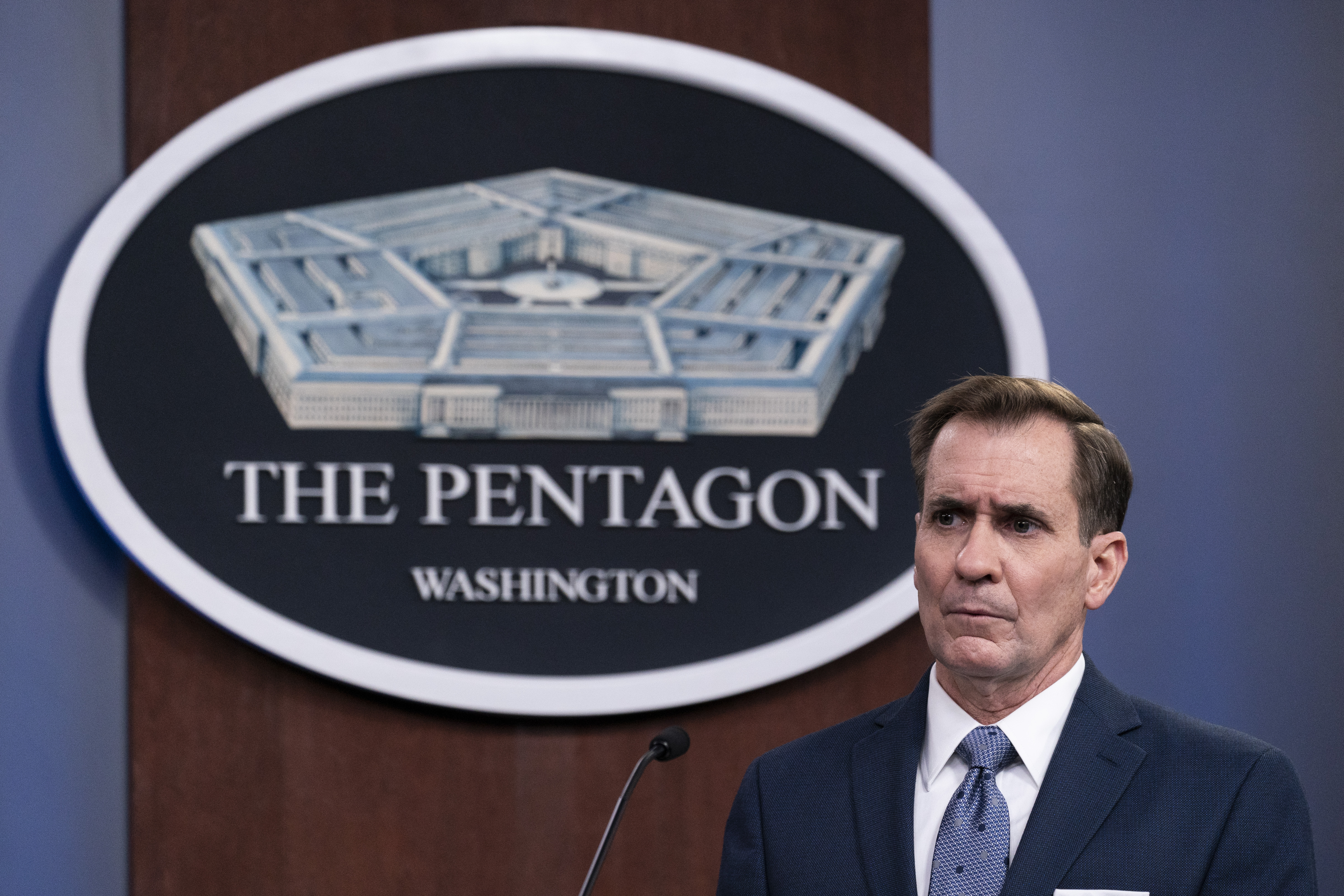 In this Wednesday, Feb. 17, 2021, file photo, Pentagon spokesman John Kirby speaks during a media briefing at the Pentagon, in Washington.