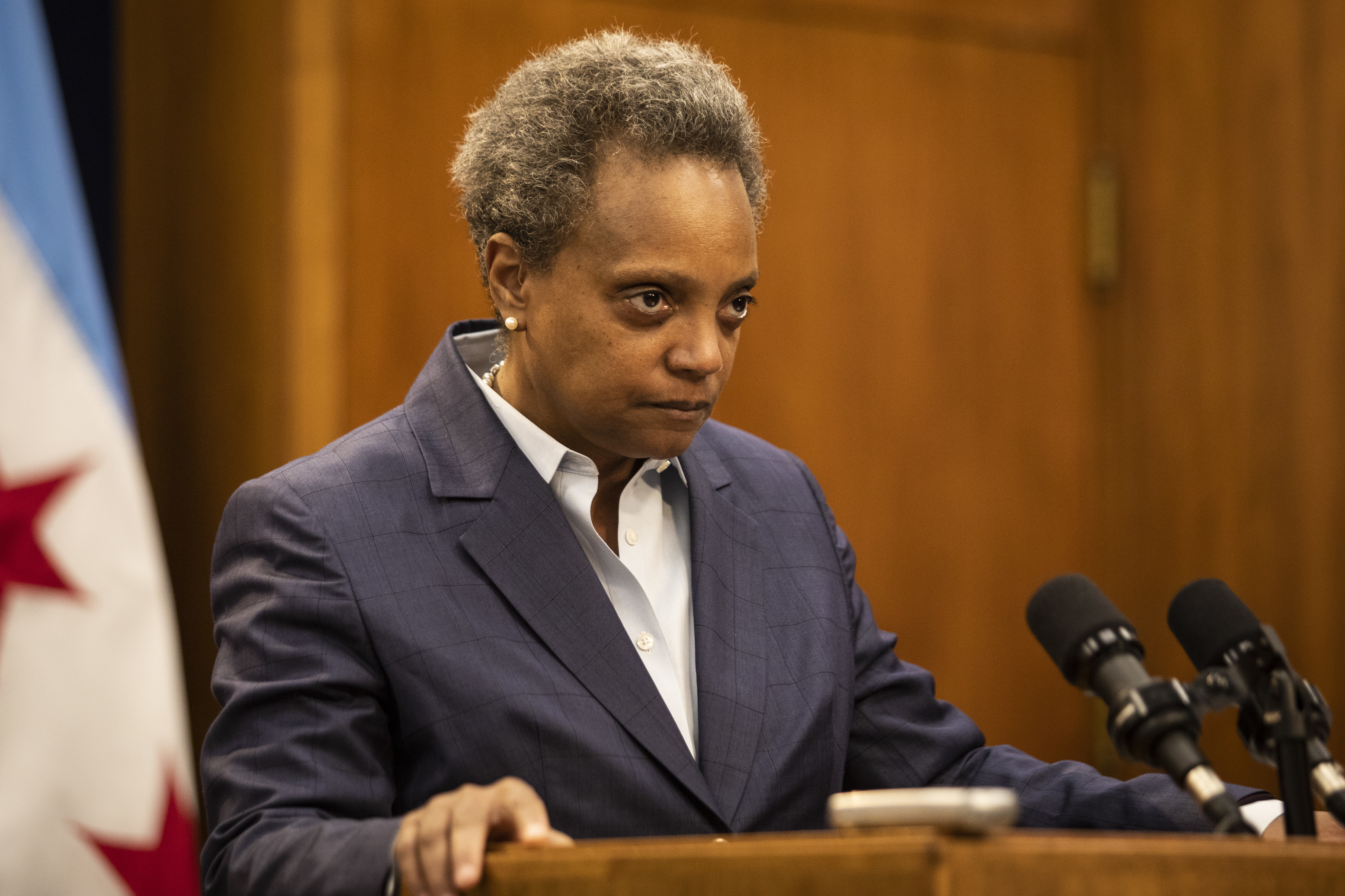 Mayor Lori Lightfoot at a news conference in December 2019.