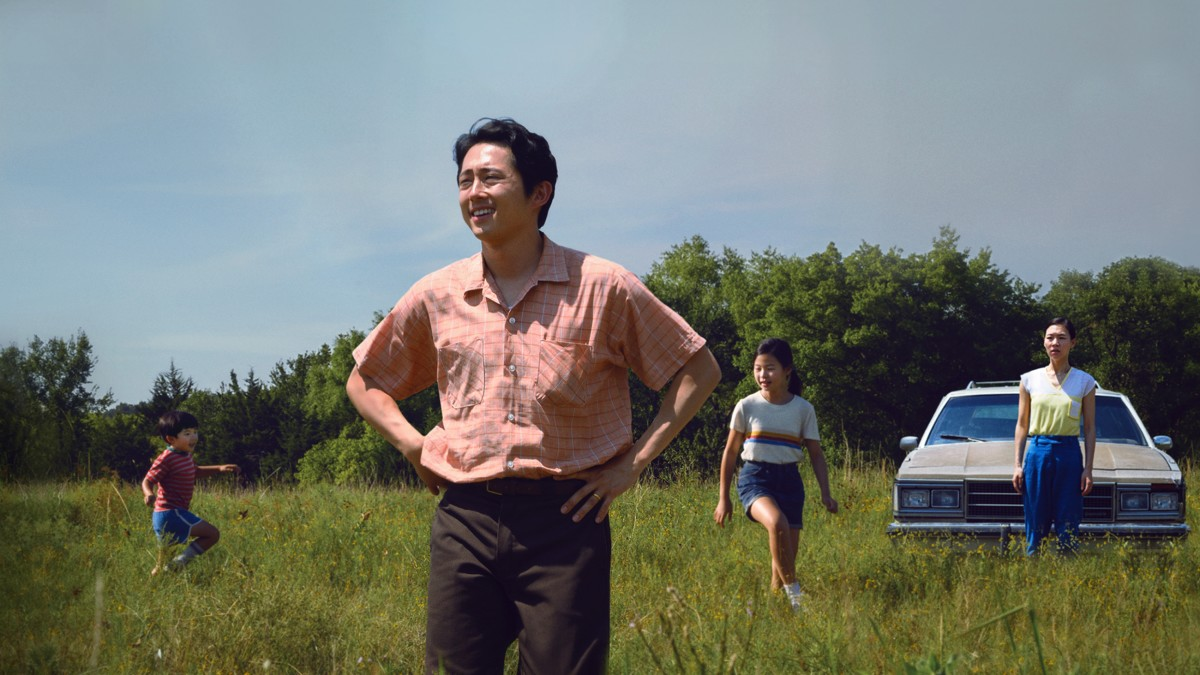 Alan S. Kim, left, Steven Yeun, Noel Cho and Yeri Han in A24's Minari.