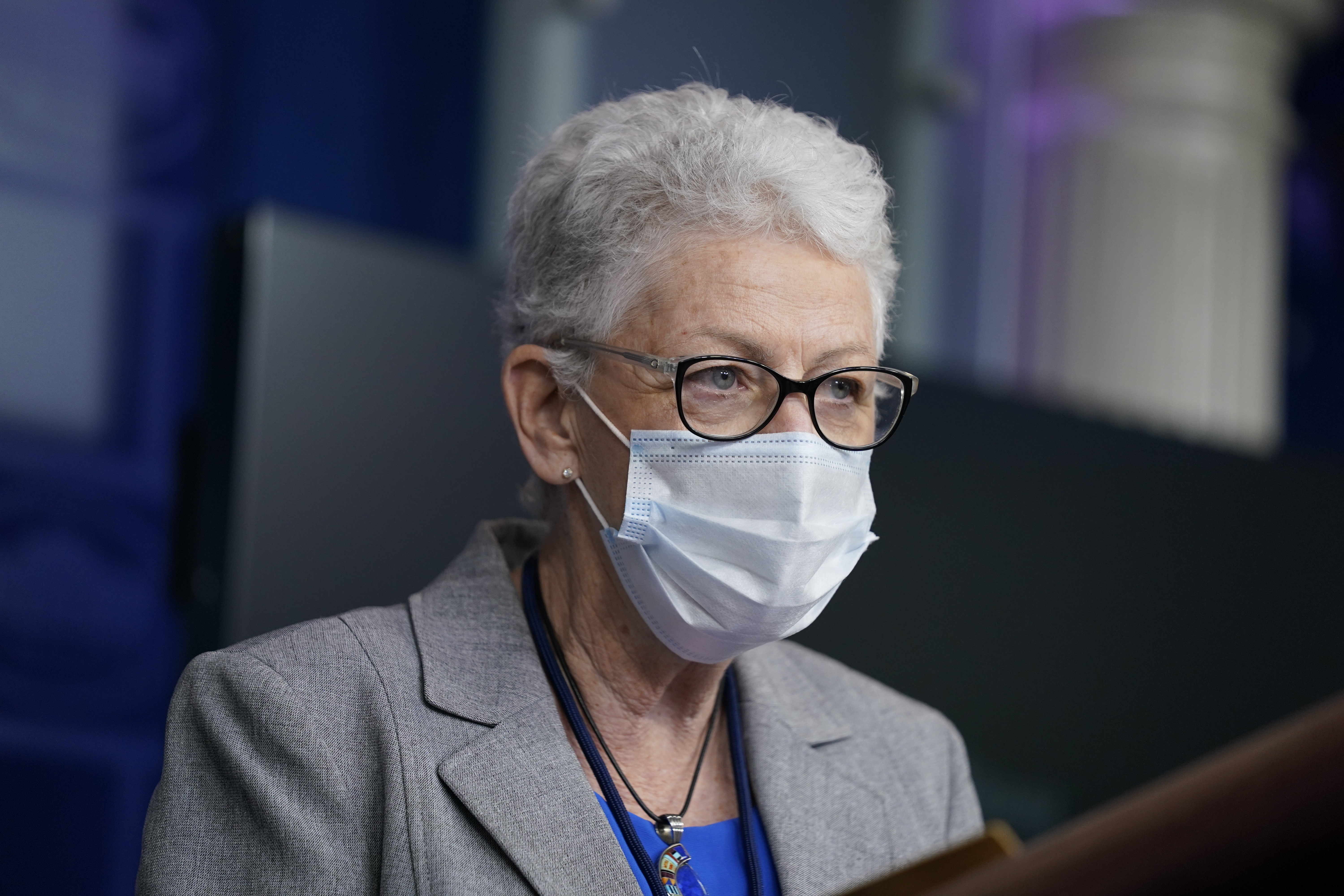In this Jan. 27, 2021 file photo, National Climate Adviser Gina McCarthy speaks during a press briefing at the White House in Washington.