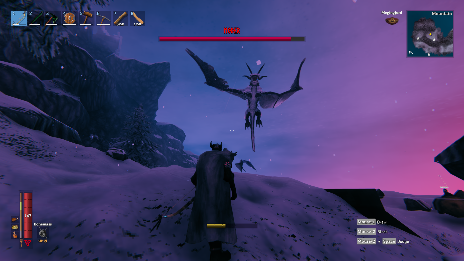 Moder the dragon flying in front of a player in Valheim