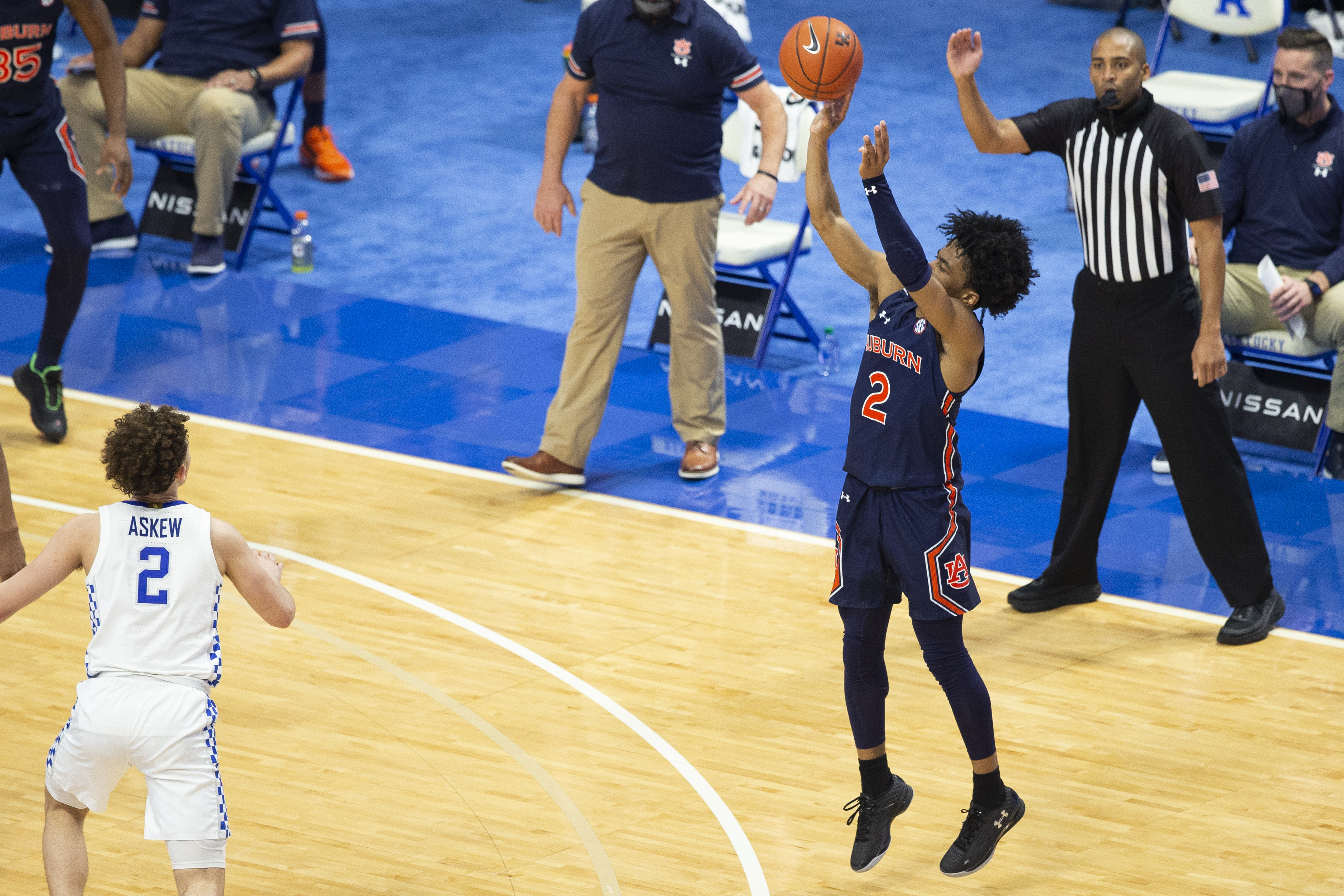 Auburn Tigers guard Sharife Cooper shoots a three-pointer during the second half of the game against the Kentucky Wildcats at Rupp Arena at Central Bank Center.