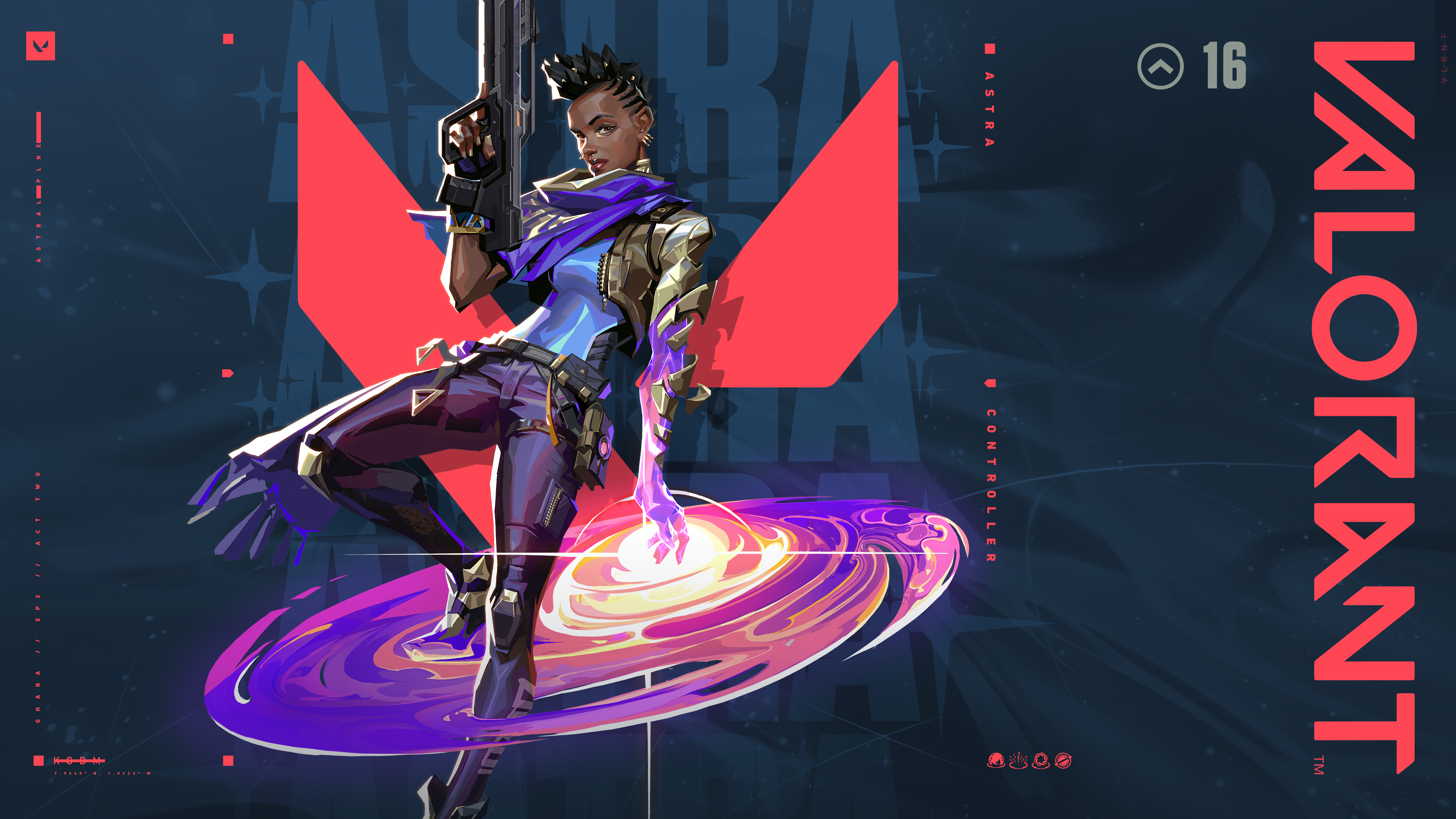 Astra from Valorant posing against the game's logo