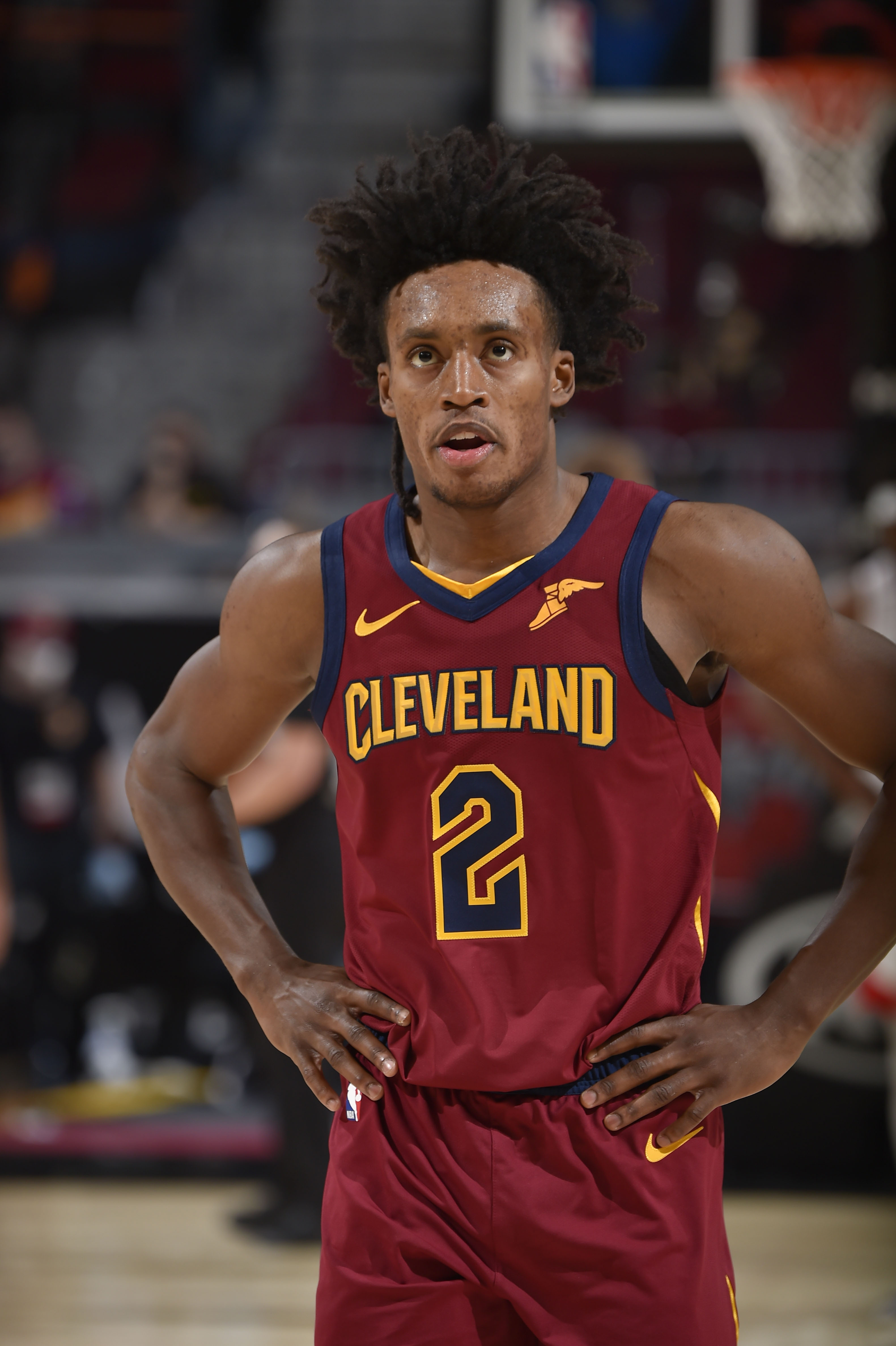 Collin Sexto of the Cleveland Cavaliers looks on during the game against the Houston Rockets on February 24, 2021 at Rocket Mortgage FieldHouse in Cleveland, Ohio.