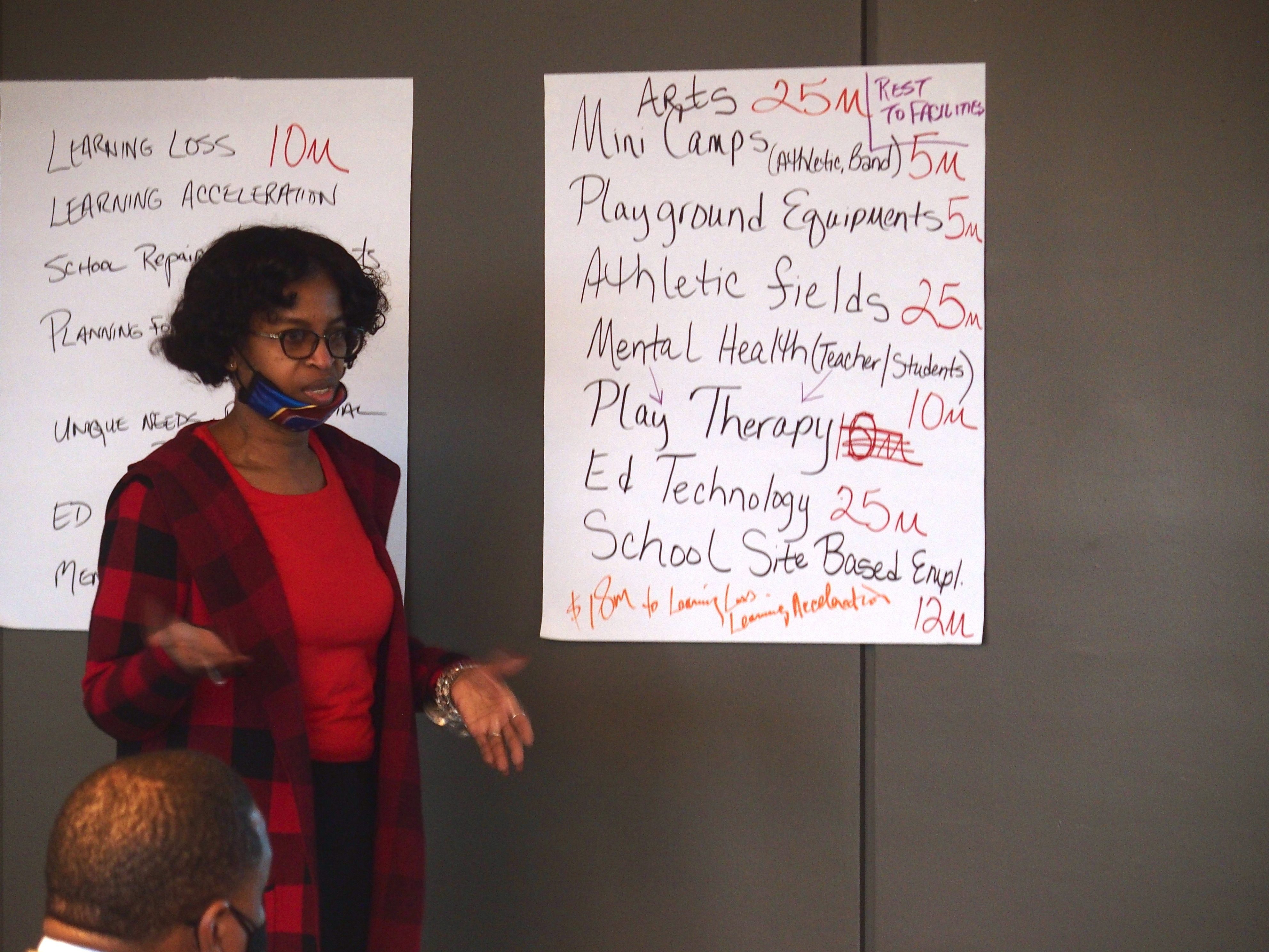 Joyce Dorse-Coleman stands next to a list of ideas posted on the wall and presents to board members and district administration.