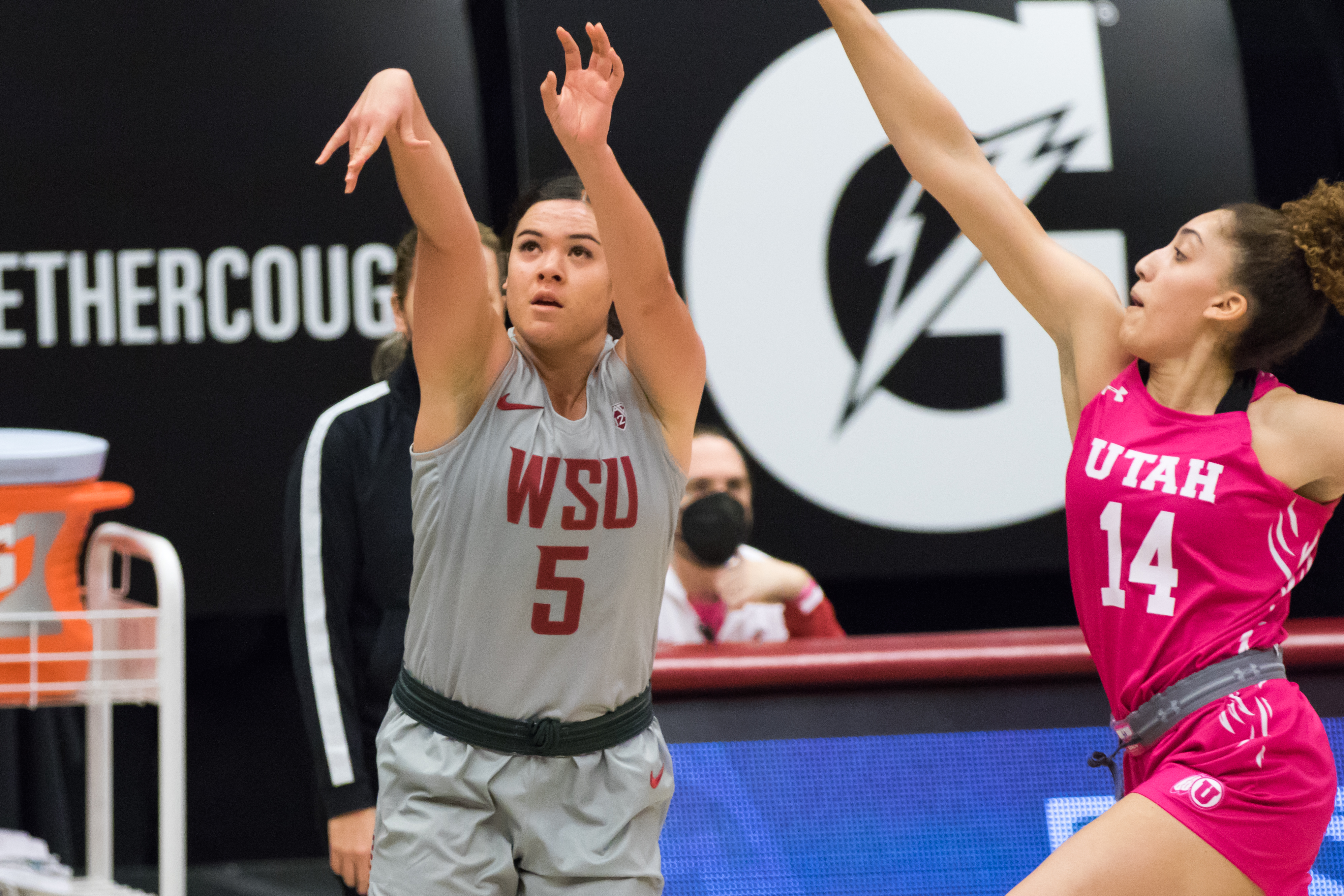 PULLMAN, WA - FEBRUARY 21: Washington State guard Charlisse Leger-Walker (5) takes a shot during the first half of a Pac 12 matchup between the Utah Utes and the Washington State Cougars on February 21, 2021, at Beasley Coliseum in Pullman, WA.