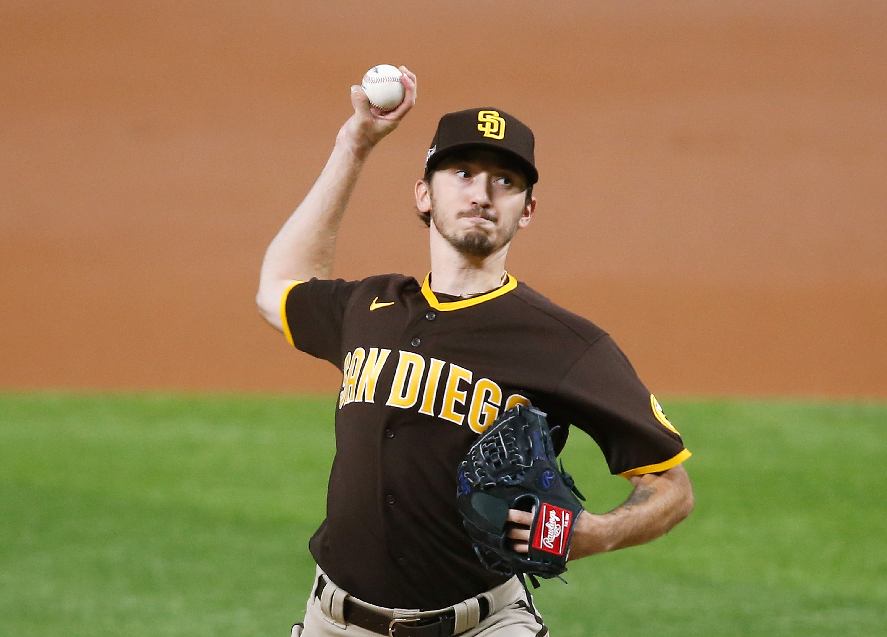 San Diego Padres starting pitcher Zach Davies pitches against the Los Angeles Dodgers during the first inning in game two of the 2020 NLDS at Globe Life Field.