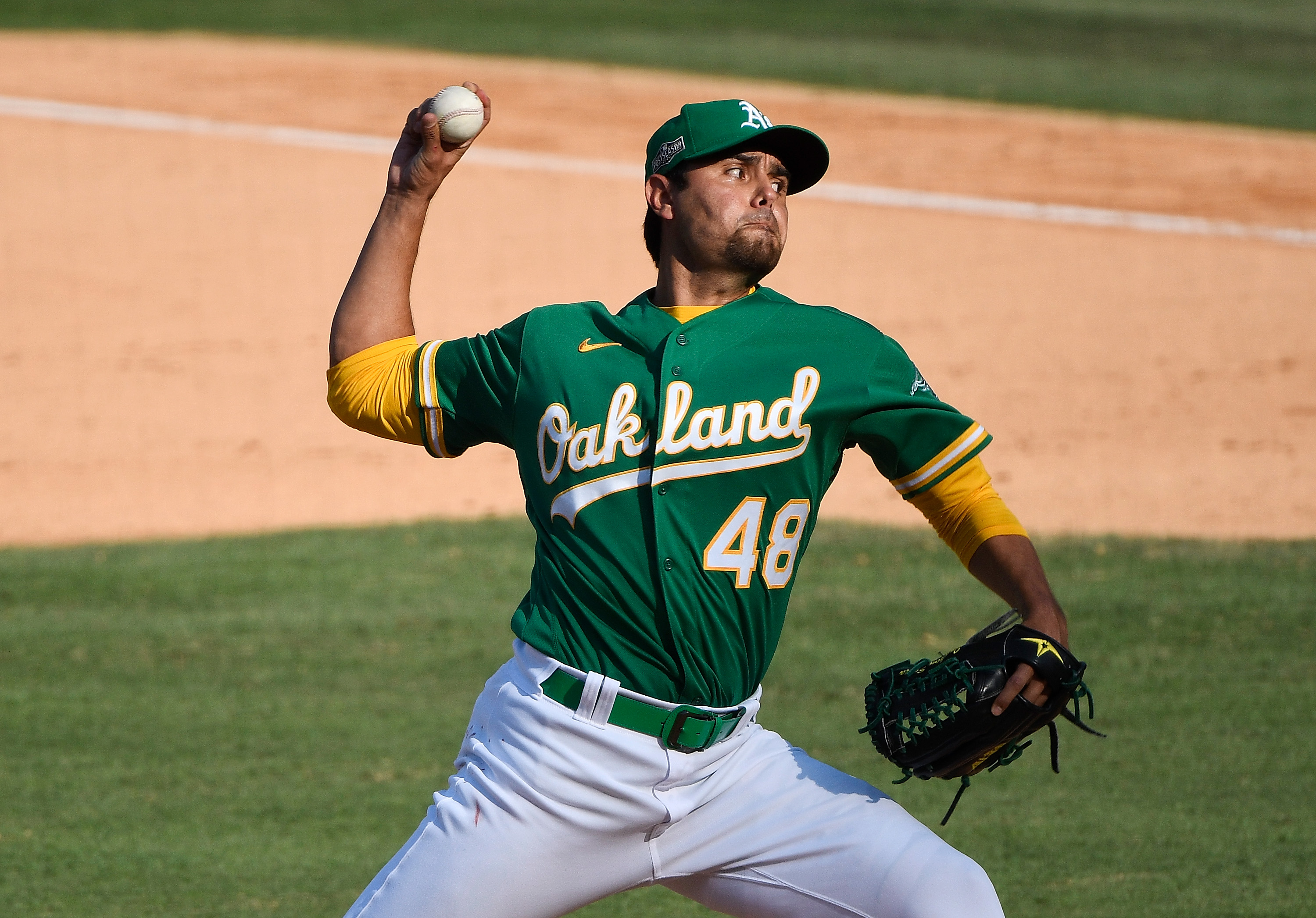 Oakland Athletics relief pitcher Joakim Soria pitches against the Houston Astros during the eighth inning in game two of the 2020 ALDS at Dodger Stadium.