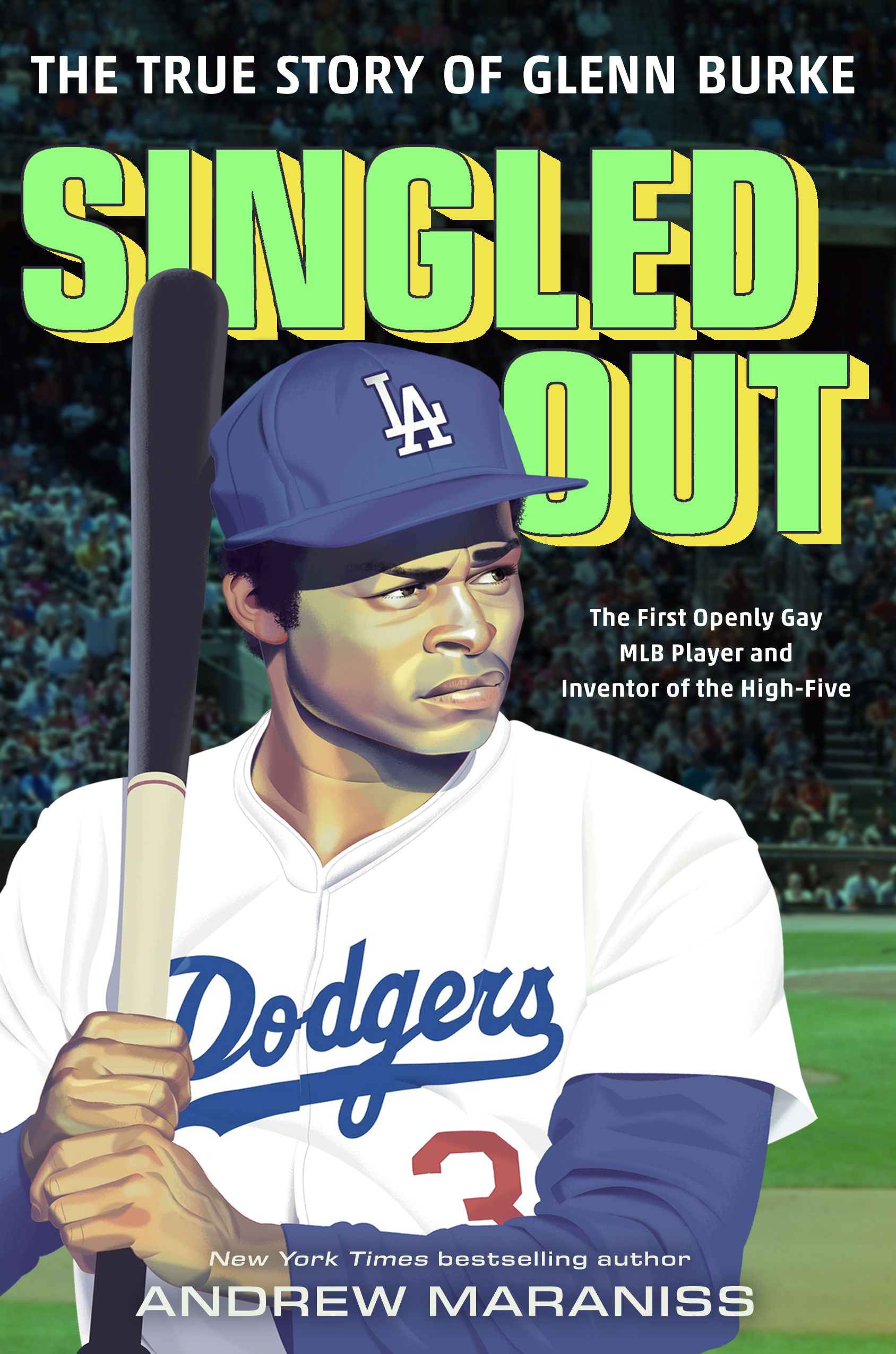 Glenn Burke wears a Dodgers uniform at bat on the cover of this new biography.