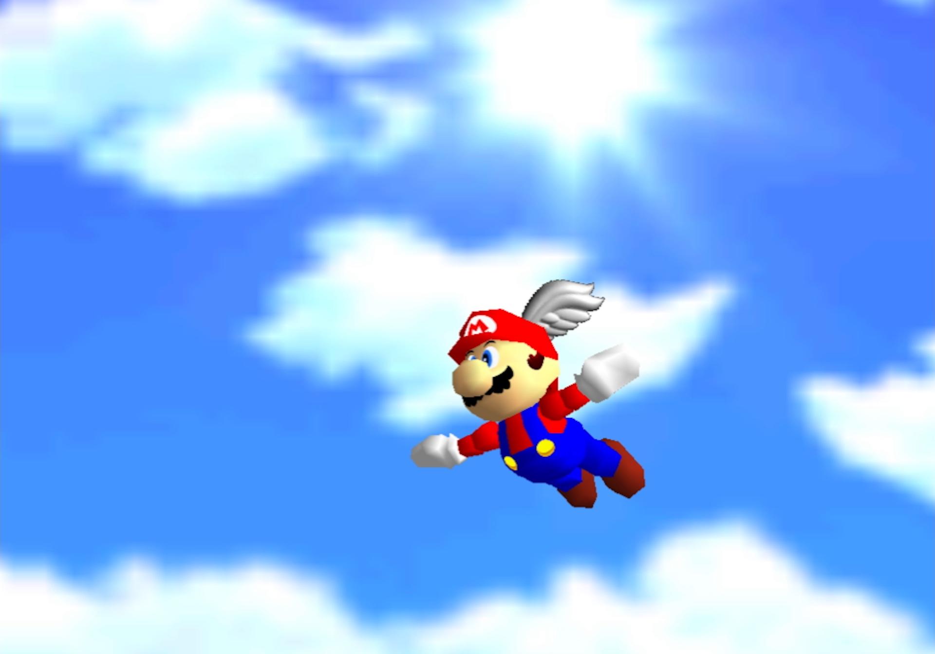 Mario flies against a cloudy blue sky in a screenshot from Super Mario 64