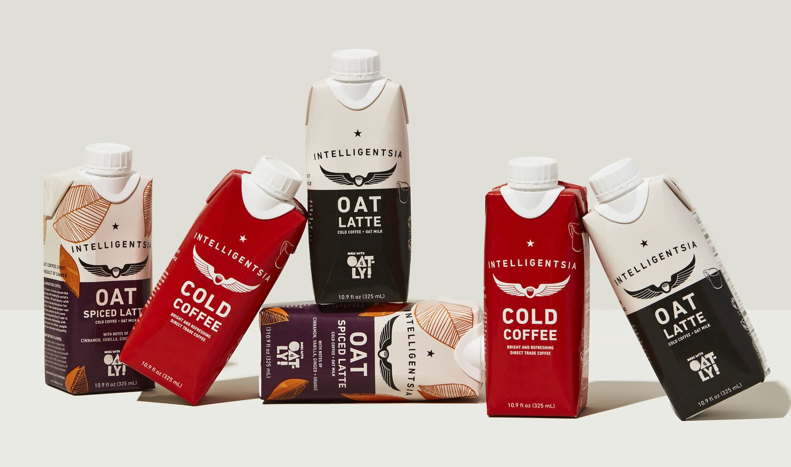 A row of packaged coffee drinks