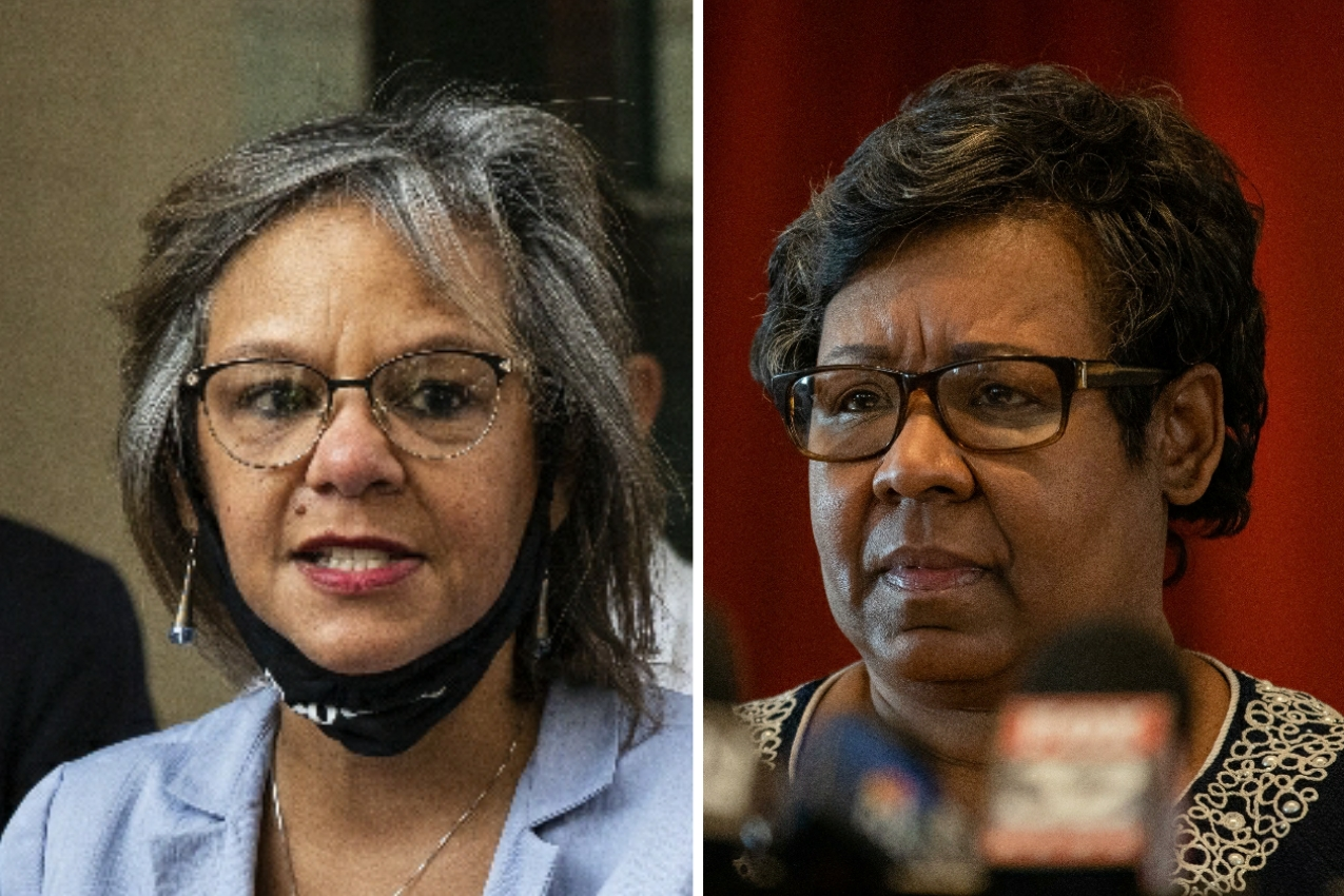 U.S. Rep. Robin Kelly, left, in August; Ald. Michelle Harris (8th), right, earlier this month.