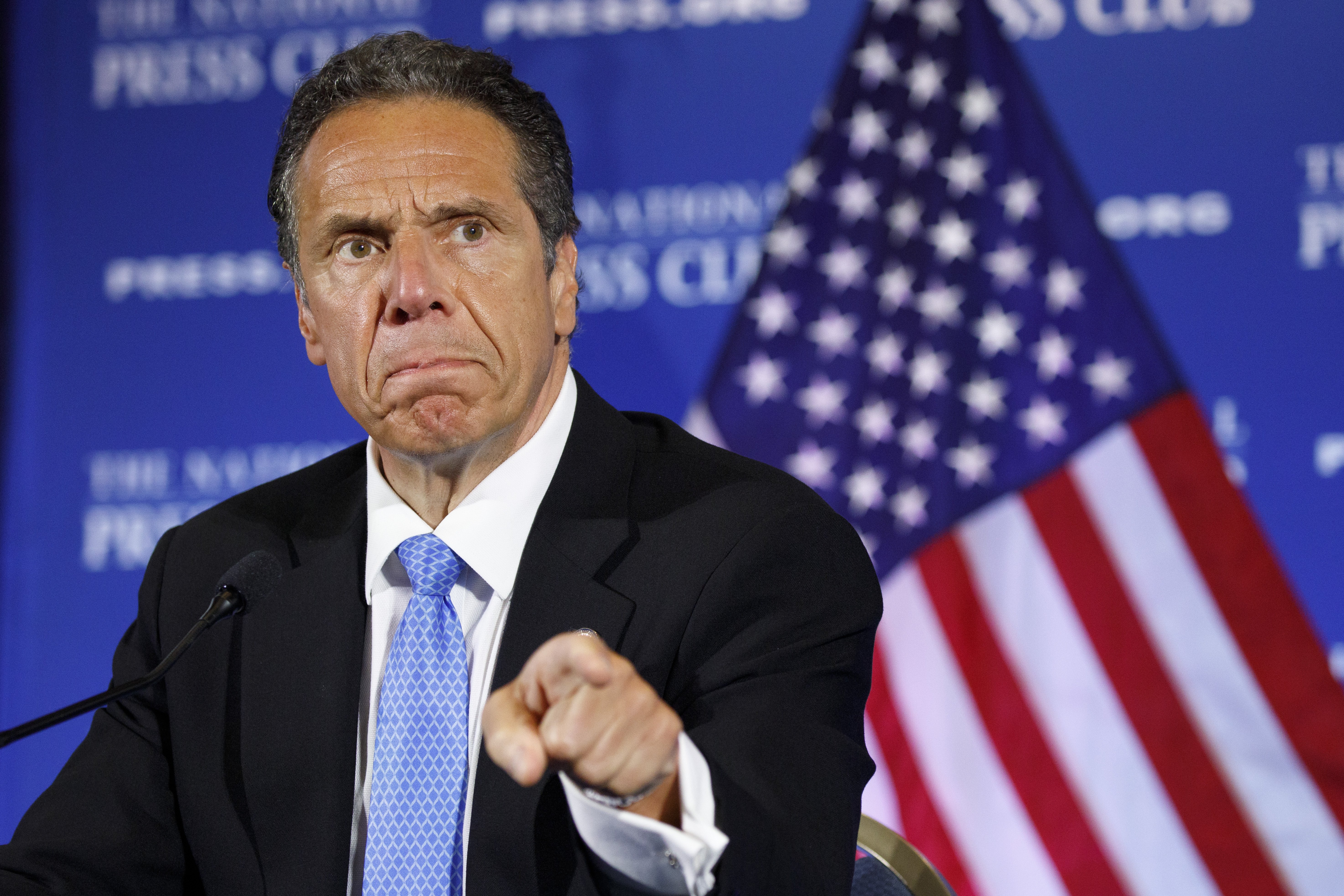 In this Wednesday, May 27, 2020, file photo, New York Gov. Andrew Cuomo speaks during a news conference, at the National Press Club in Washington.