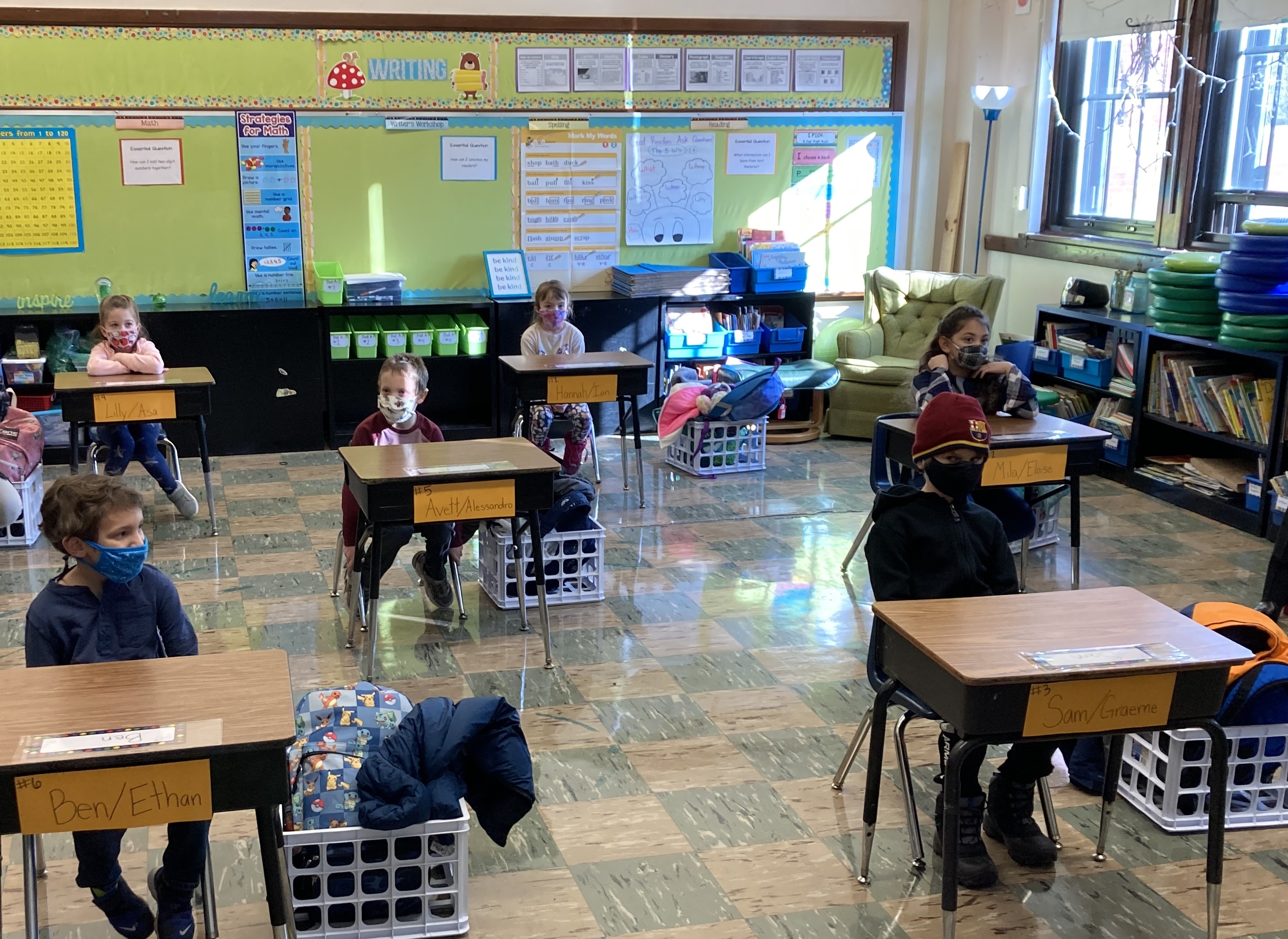 A classroom of students at Hawthorne Scholastic Academy on reopening day
