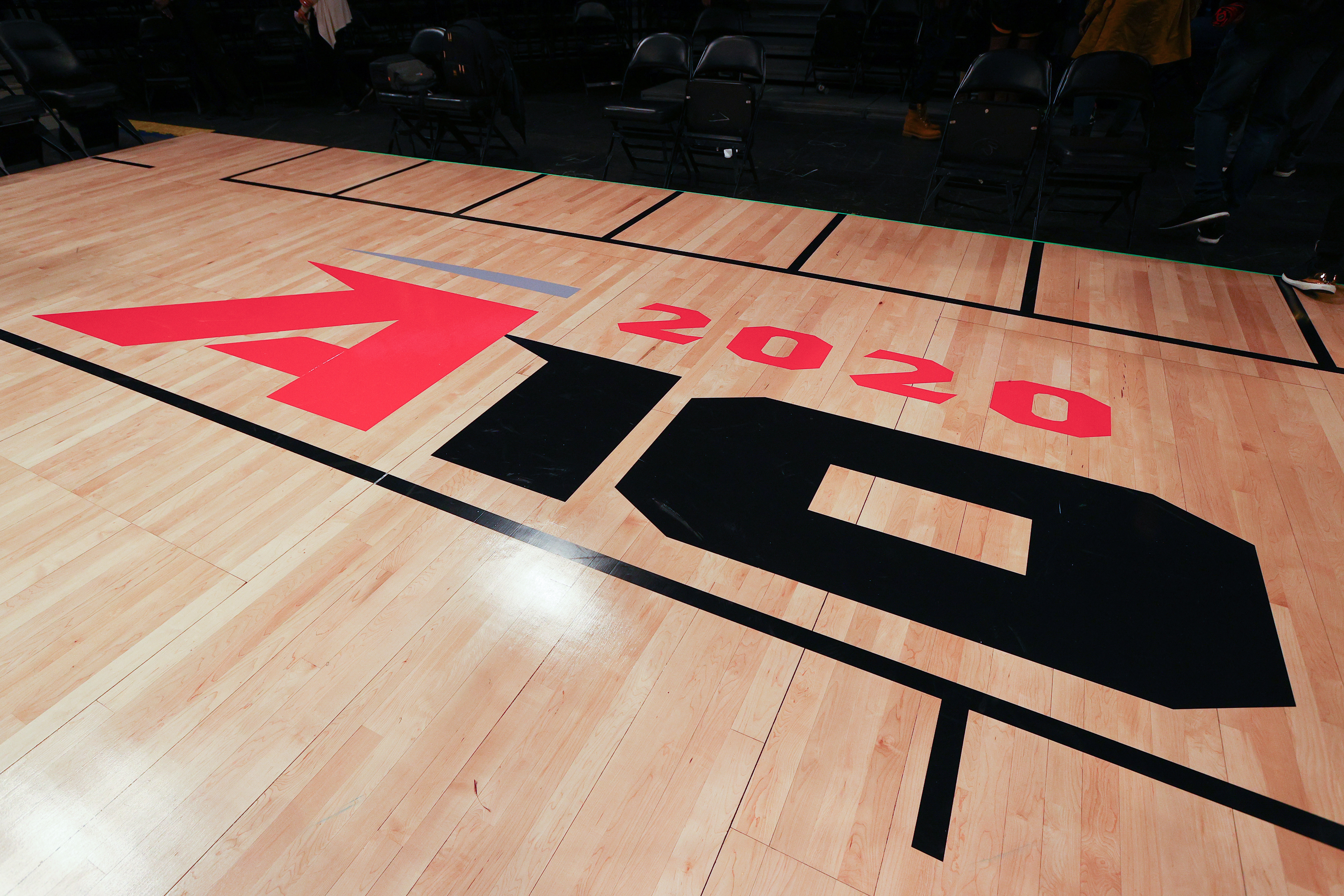 A general view of the A-10 logo on the court after the canceling of the Atlantic 10 Tournament on March 12, 2020 at the Barclays Center in Brooklyn, NY.