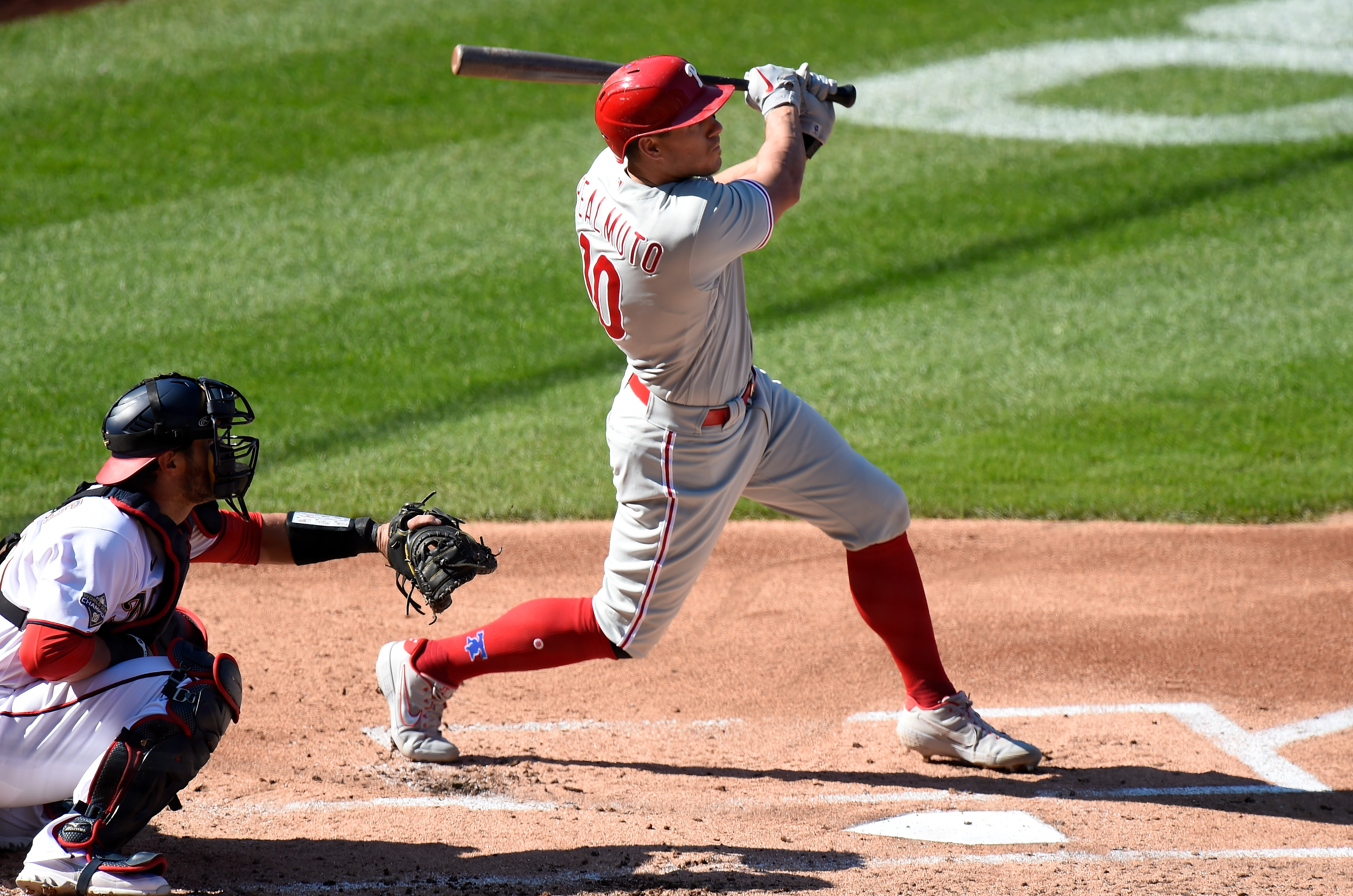 J.T. Realmuto #10 of the Philadelphia Phillies bats against the Washington Nationals during the first game of a doubleheader at Nationals Park on September 22, 2020 in Washington, DC.