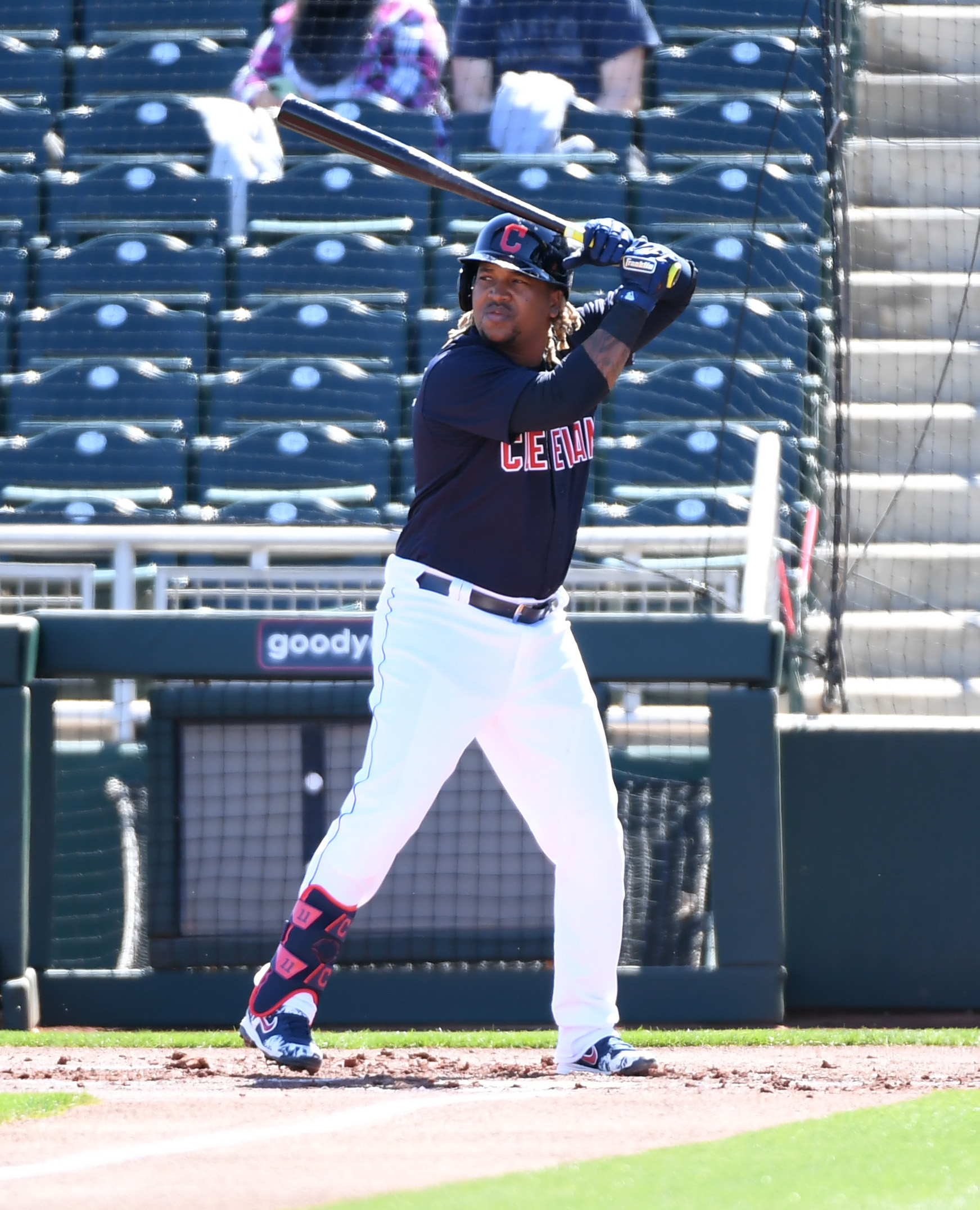 Jose Ramirez #11 of the Cleveland Indians gets ready in the batters box against the Kansas City Royals during a spring training game at Goodyear Ballpark on March 01, 2021 in Goodyear, Arizona.