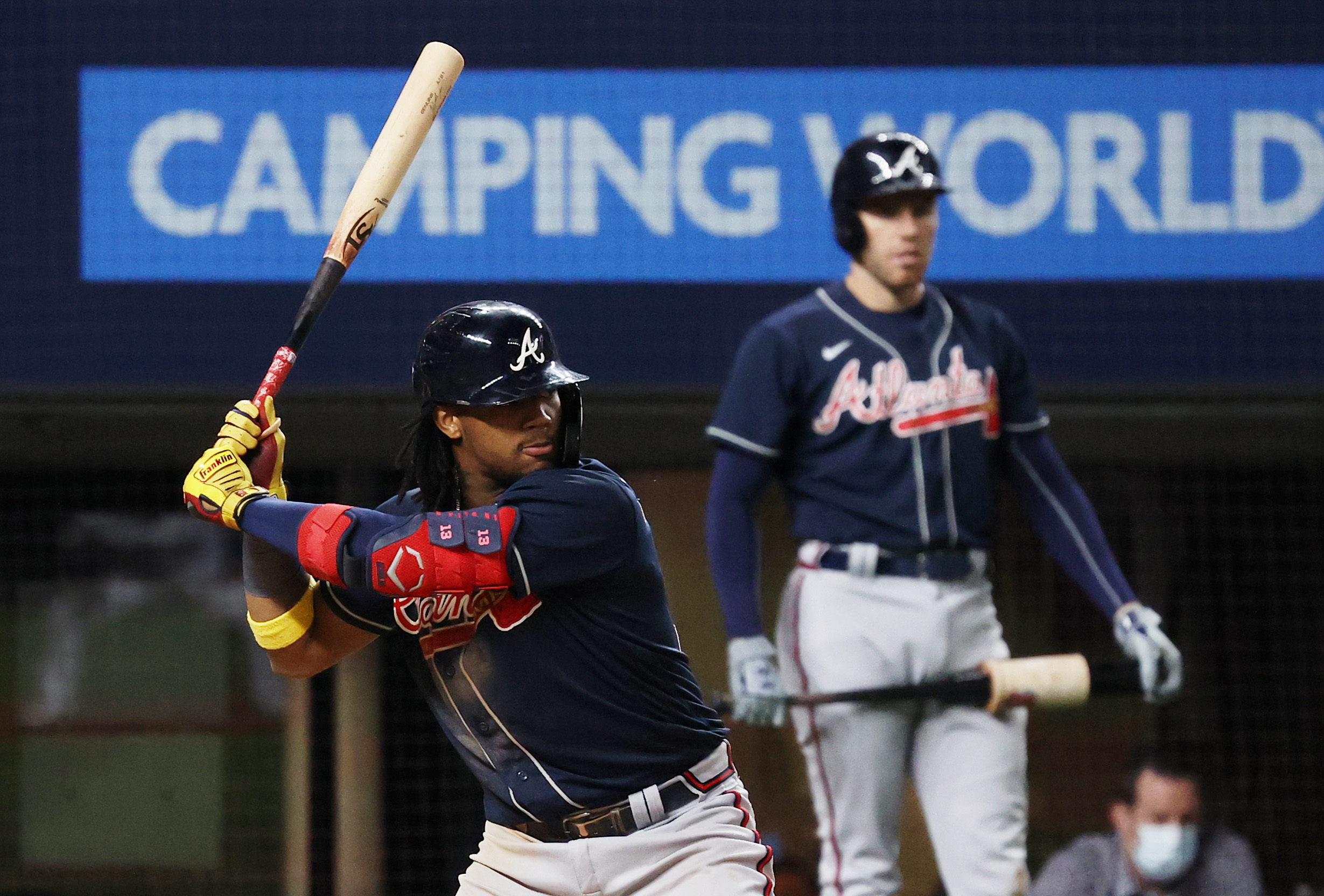 Ronald Acuna Jr. #13 of the Atlanta Braves at bat against the Los Angeles Dodgers during the seventh inning in Game Seven of the National League Championship Series at Globe Life Field on October 18, 2020 in Arlington, Texas.
