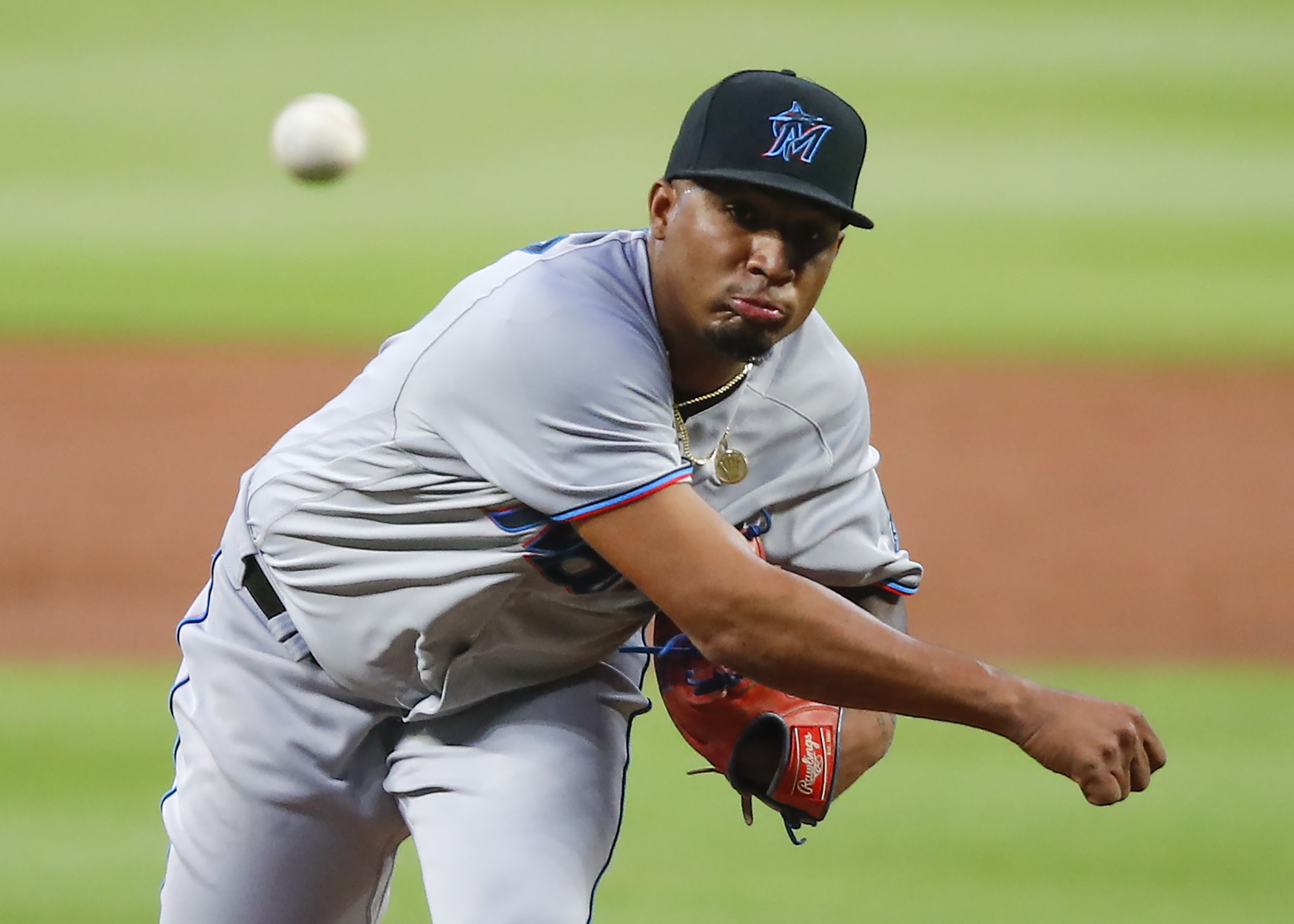 Sixto Sanchez #73 of the Miami Marlins pitches in the first inning of an MLB game against the Atlanta Braves at Truist Park