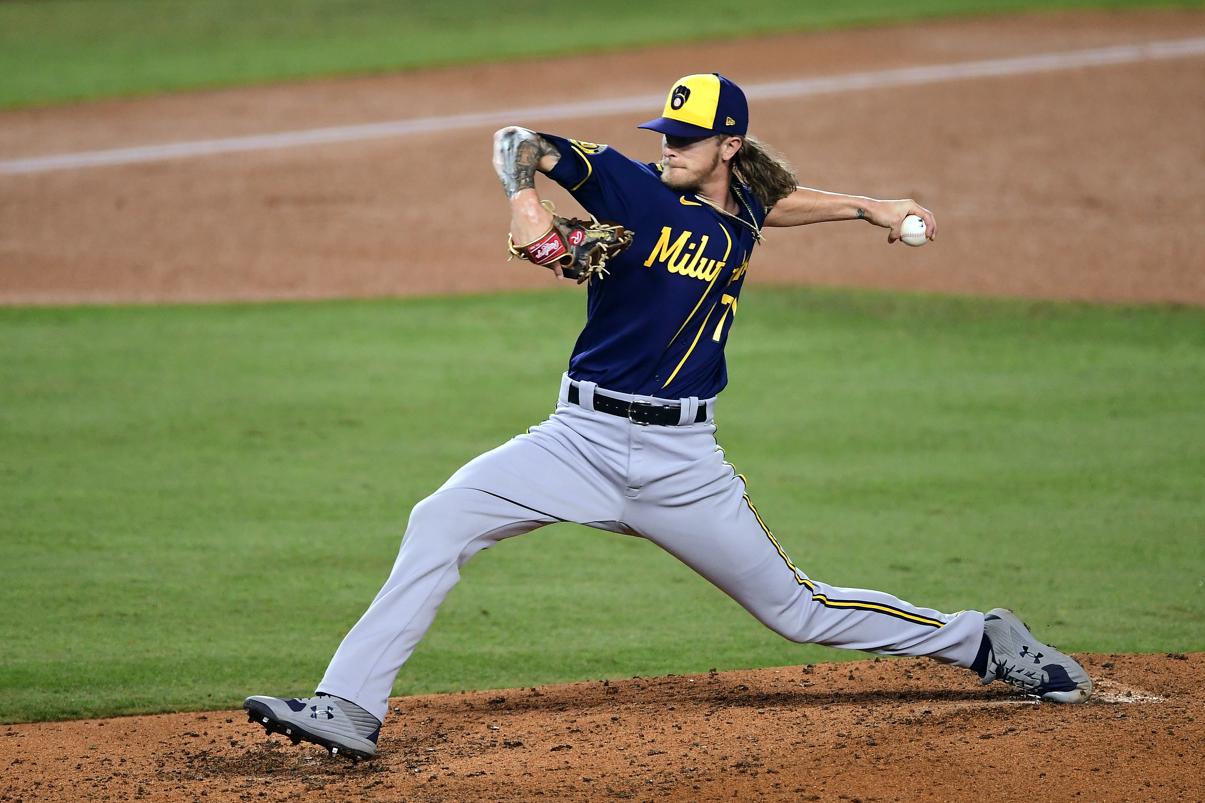 Josh Hader #71 of the Milwaukee Brewers pitches during Game 2 of the Wild Card Series between the Milwaukee Brewers and the Los Angeles Dodgers at Dodger Stadium on Thursday, October 1, 2020 in Los Angeles, California.