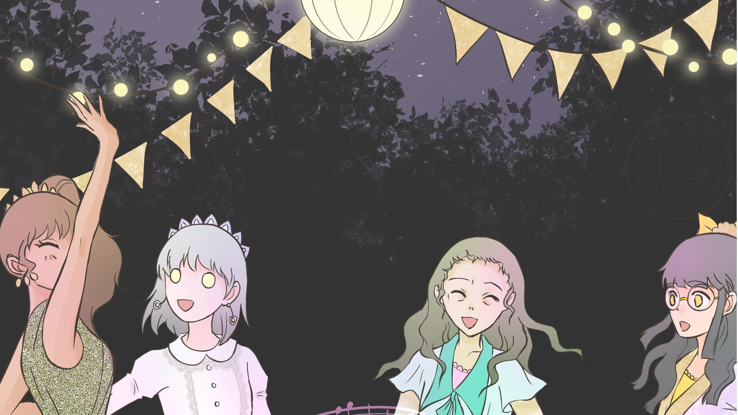 Characters in Cursed Princess Club frolick under bunting at night in a forest. One has disturbing all-white eyes, another sallow skin and sunken eyes.