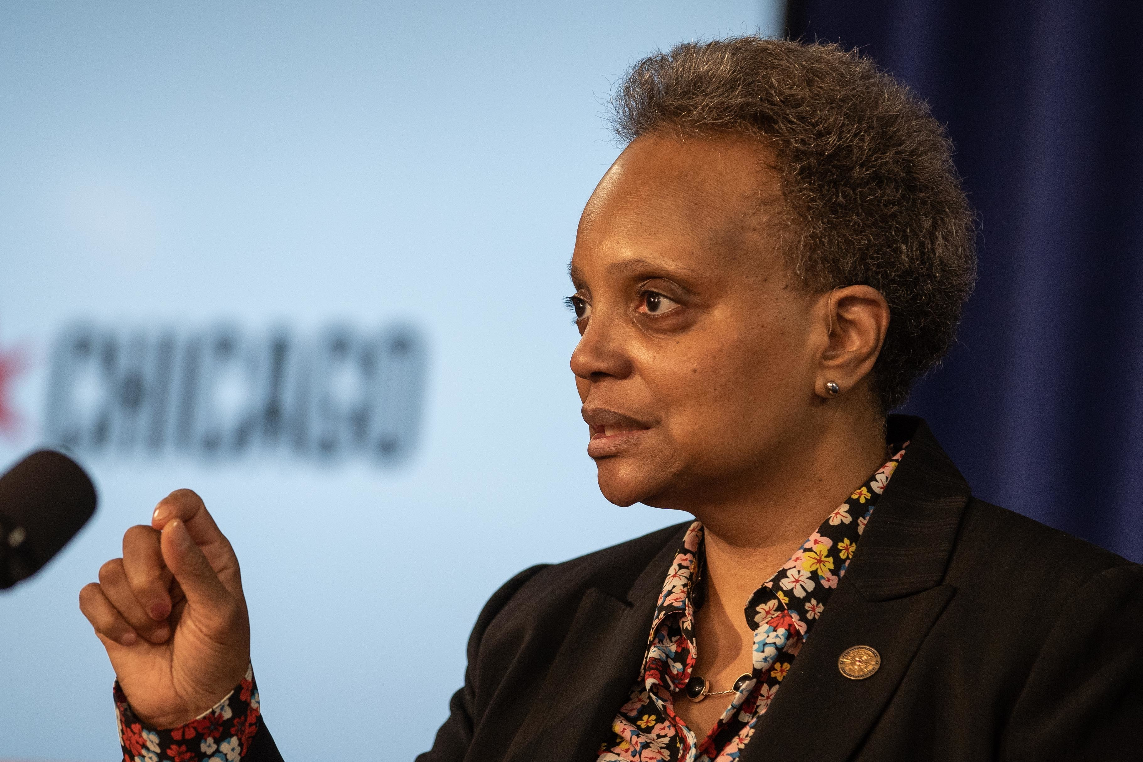 Chicago Mayor Lori Lightfoot speaks during a press conference at City Hall in the Loop, Tuesday morning, Feb. 23, 2021,